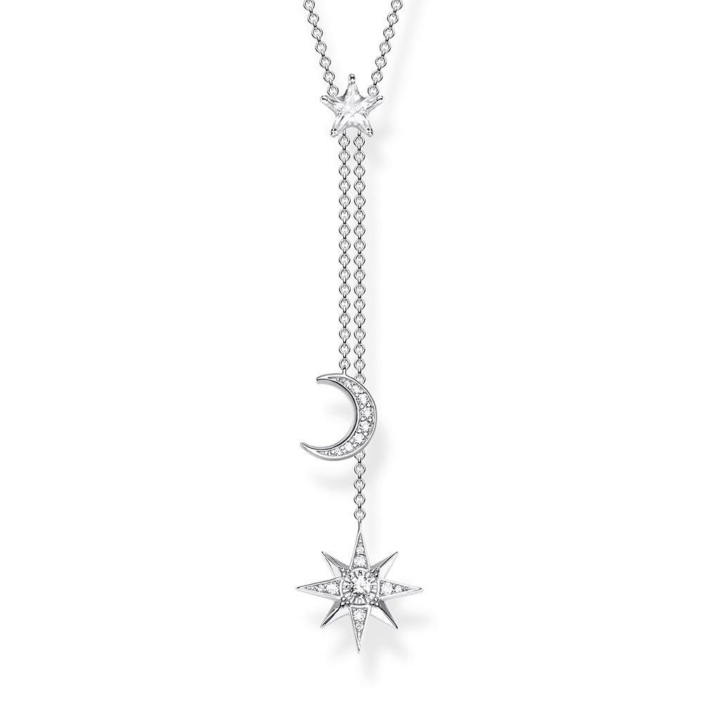 Thomas Sabo Silver Cubic Zirconia Star and Moon Necklace