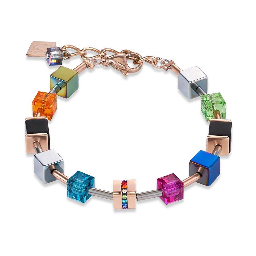 Coeur De Lion Geocube Rose Gold Plated Crystal Bracelet