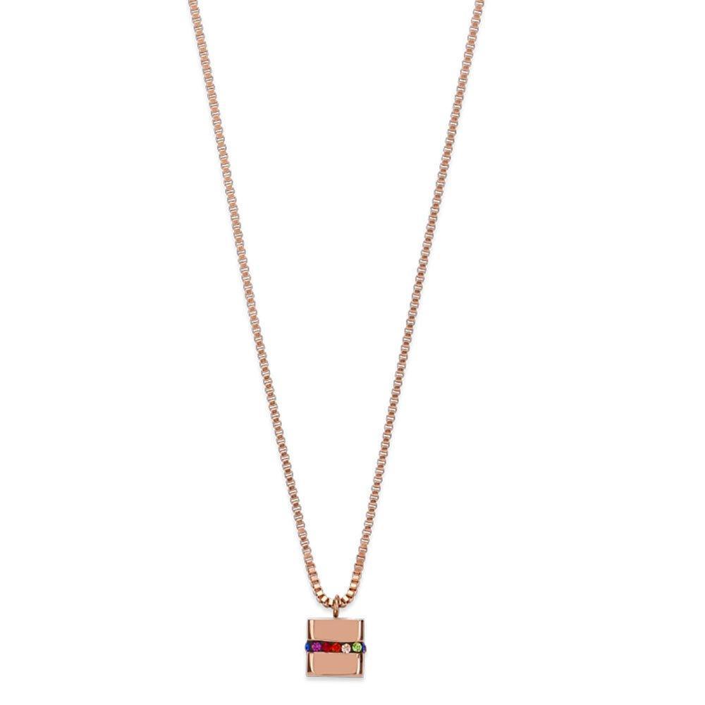 Coeur De Lion Rose Gold Plated Crystal Cube Pendant