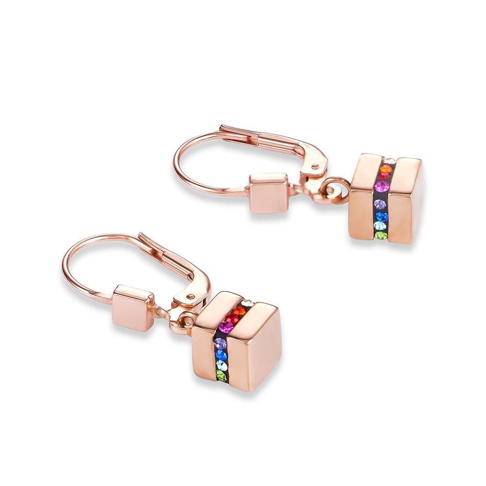 Coeur De Lion Rose Gold Plated Crystal Drop Earrings