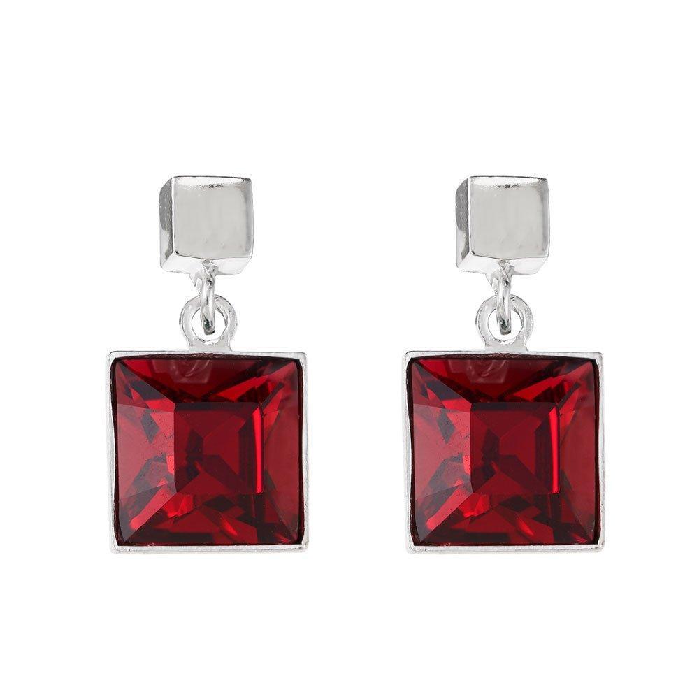 Coeur De Lion Silver Tone Square Drop Earrings