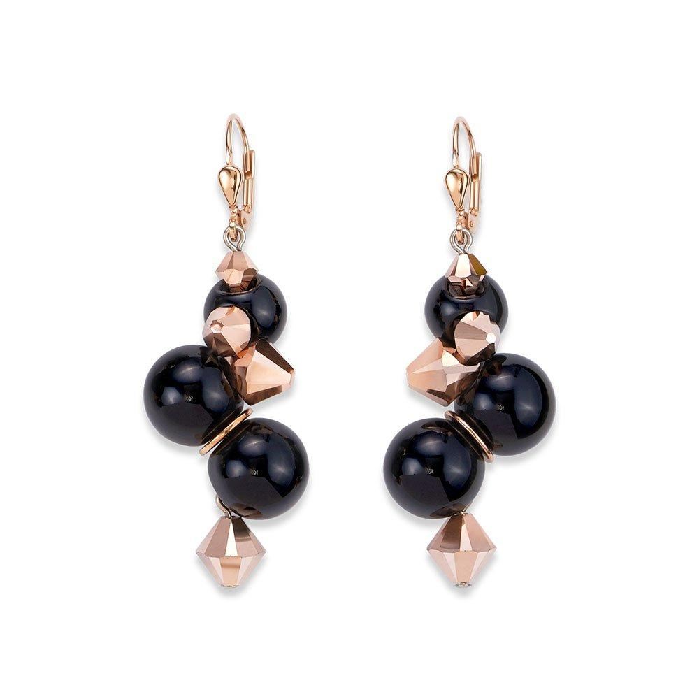 Coeur De Lion Rose Gold Plated Black Ball Drop Earrings