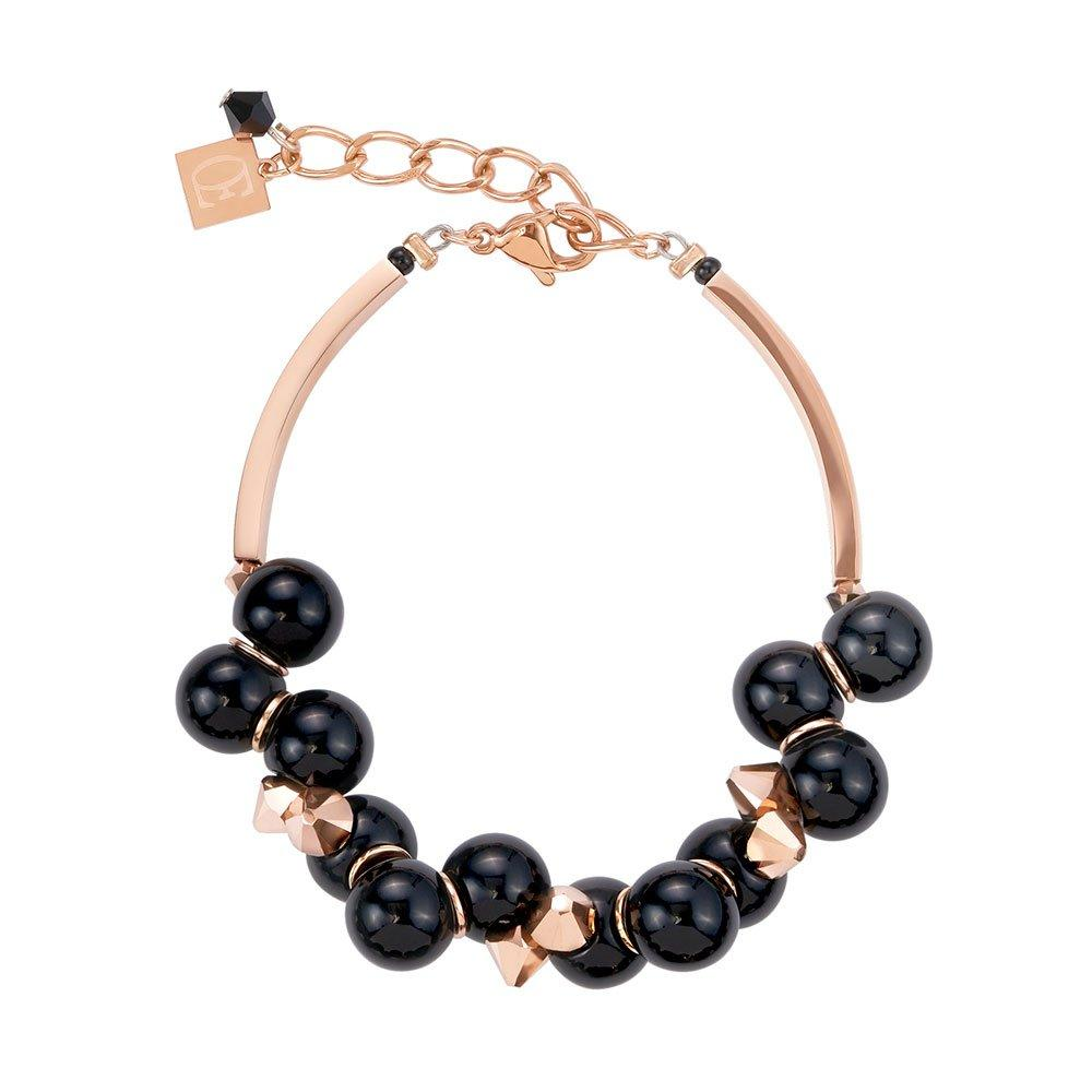 Coeur De Lion Rose Gold Plated And Black Acrylic Glass Bracelet