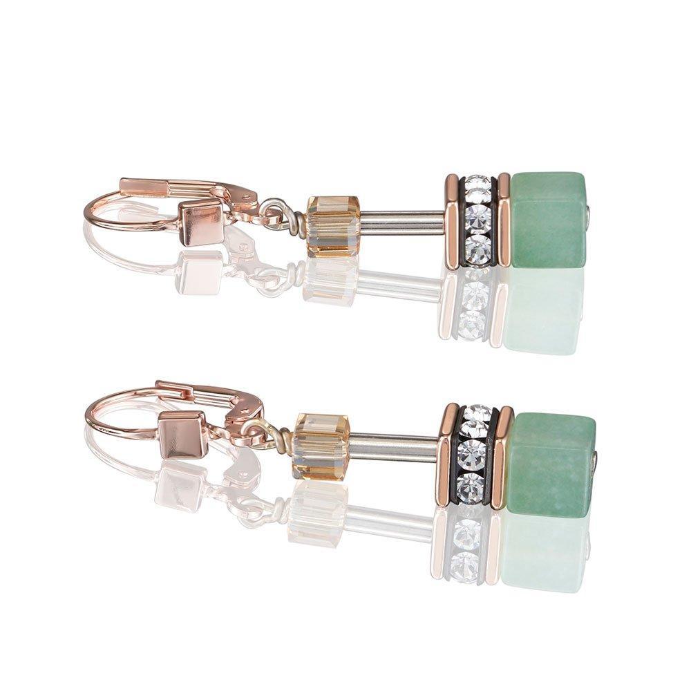 Coeur De Lion Geocube Two Colour Crystal Drop Earrings