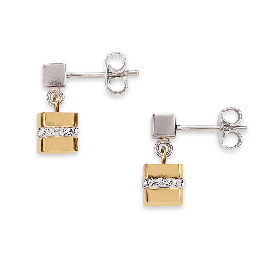 Coeur De Lion Two Colour Crystal Drop Earrings