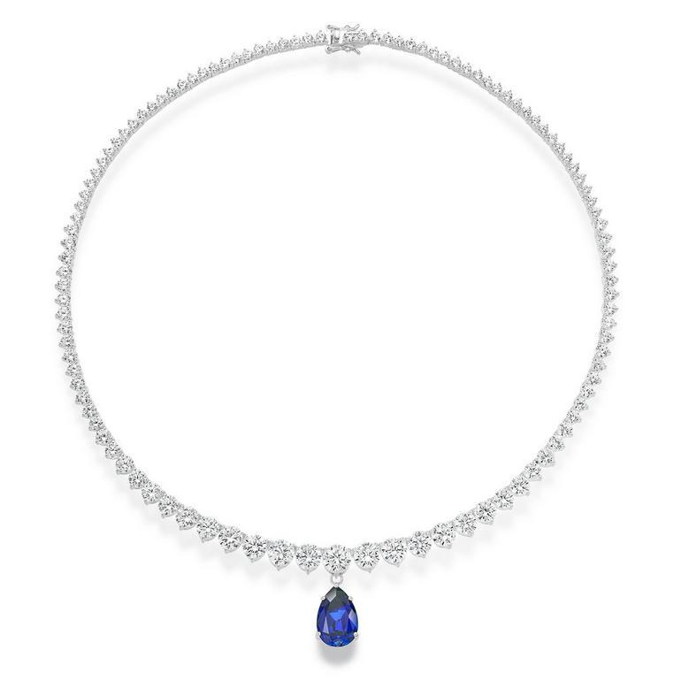 Silver Cubic Zirconia Blue Pear Necklace