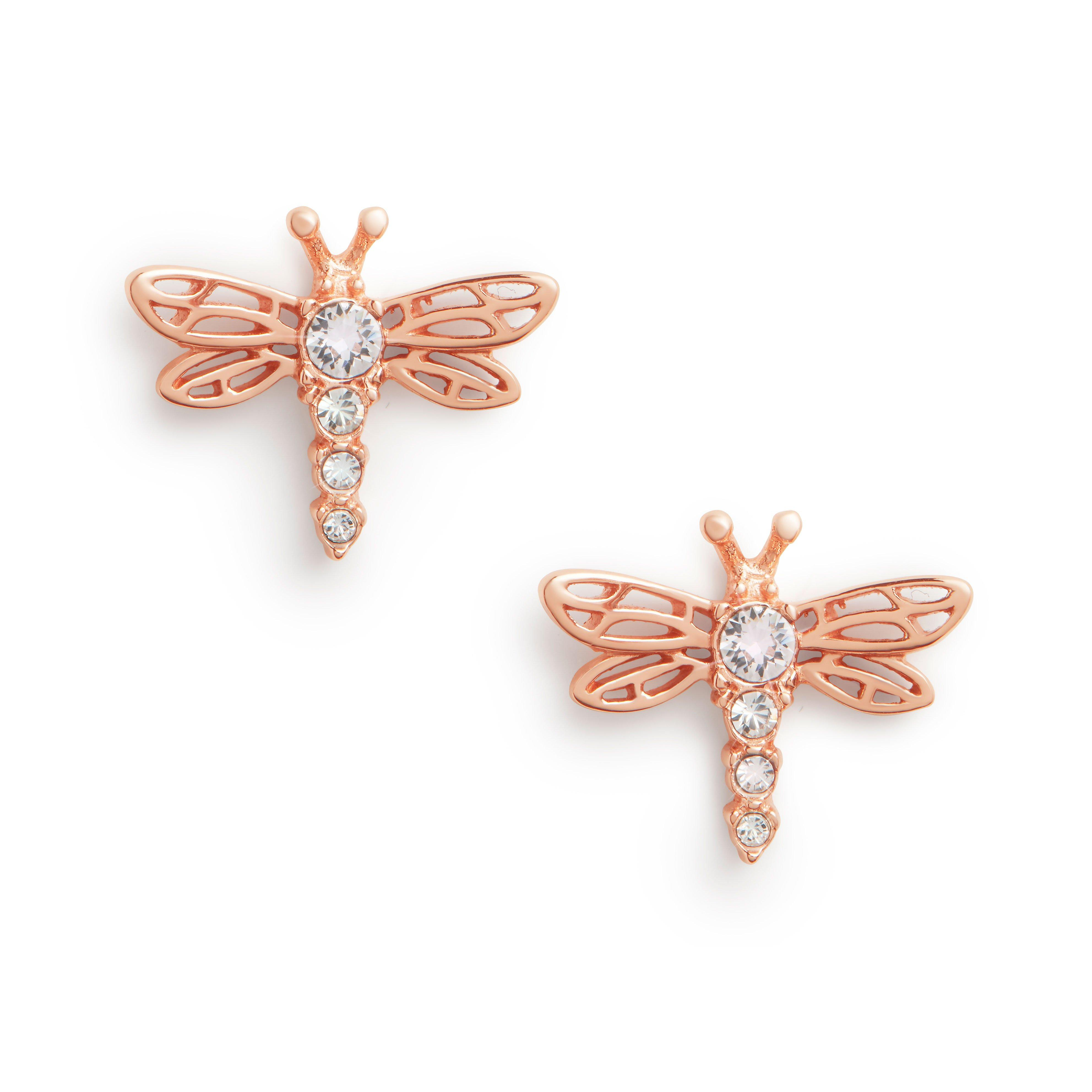 Olivia Burton Dancing Dragonfly Rose Gold Plated Silver Stud Earrings