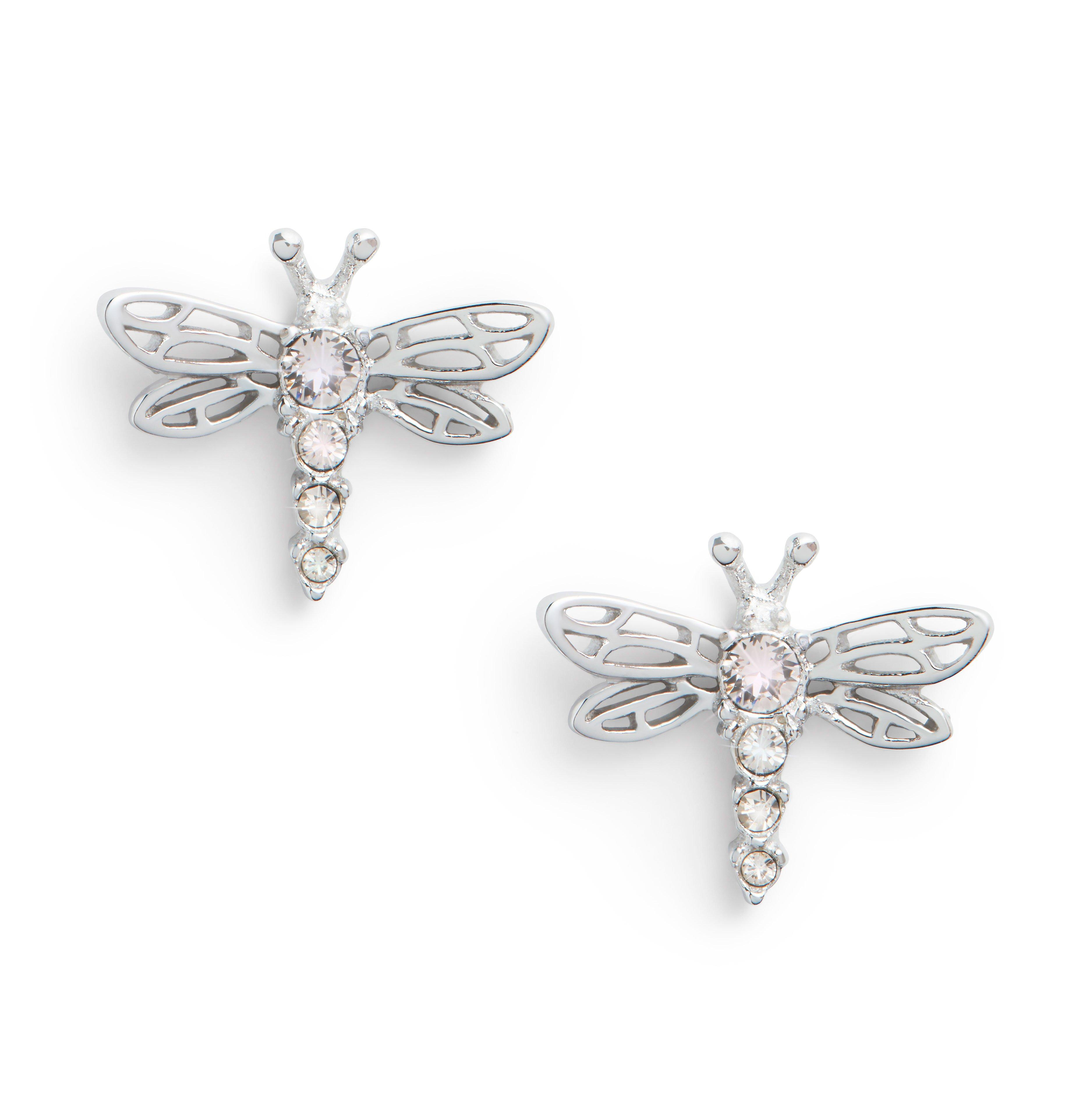 Olivia Burton Dancing Dragonfly Silver Stud Earrings