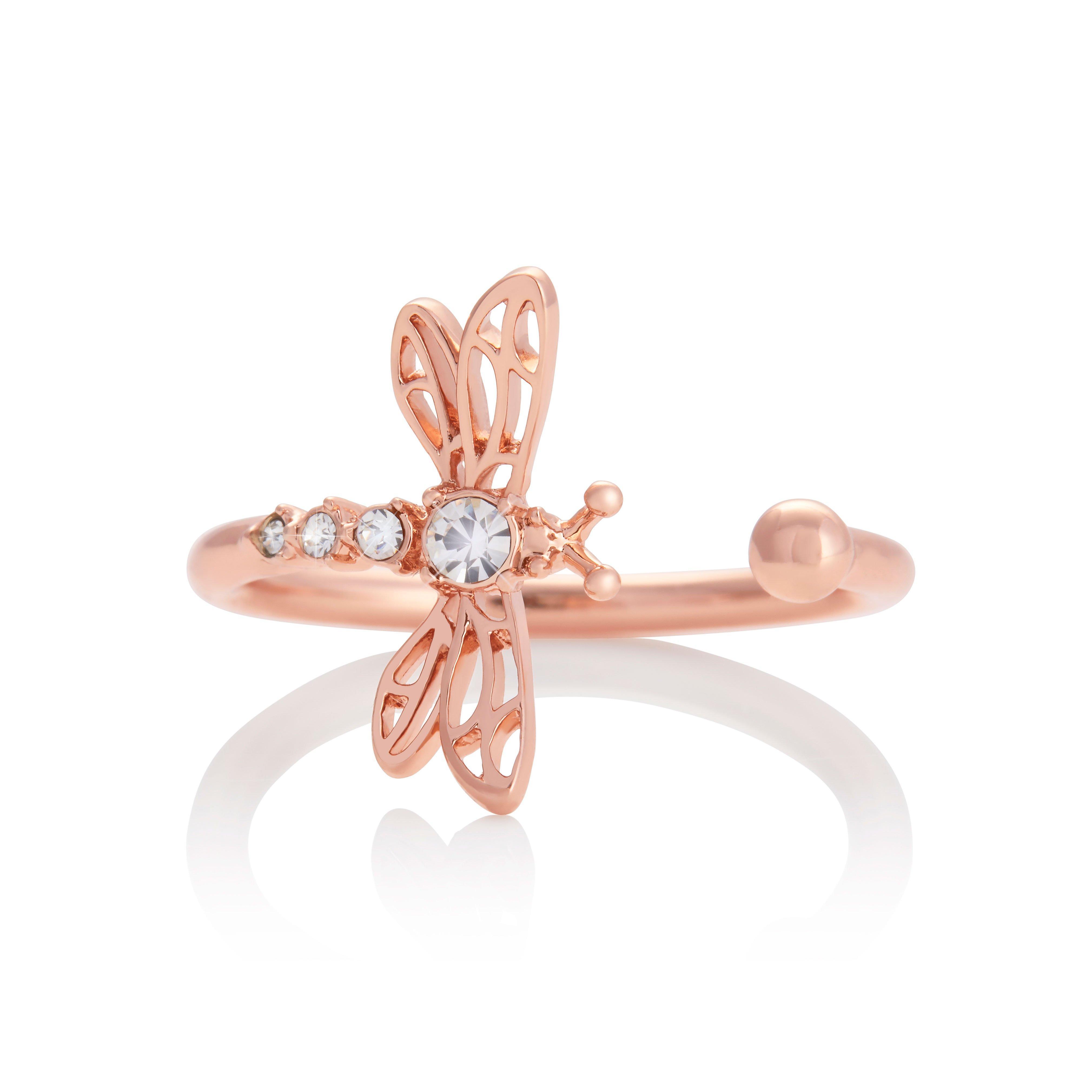 Olivia Burton Dancing Dragonfly Rose Gold Tone Ring