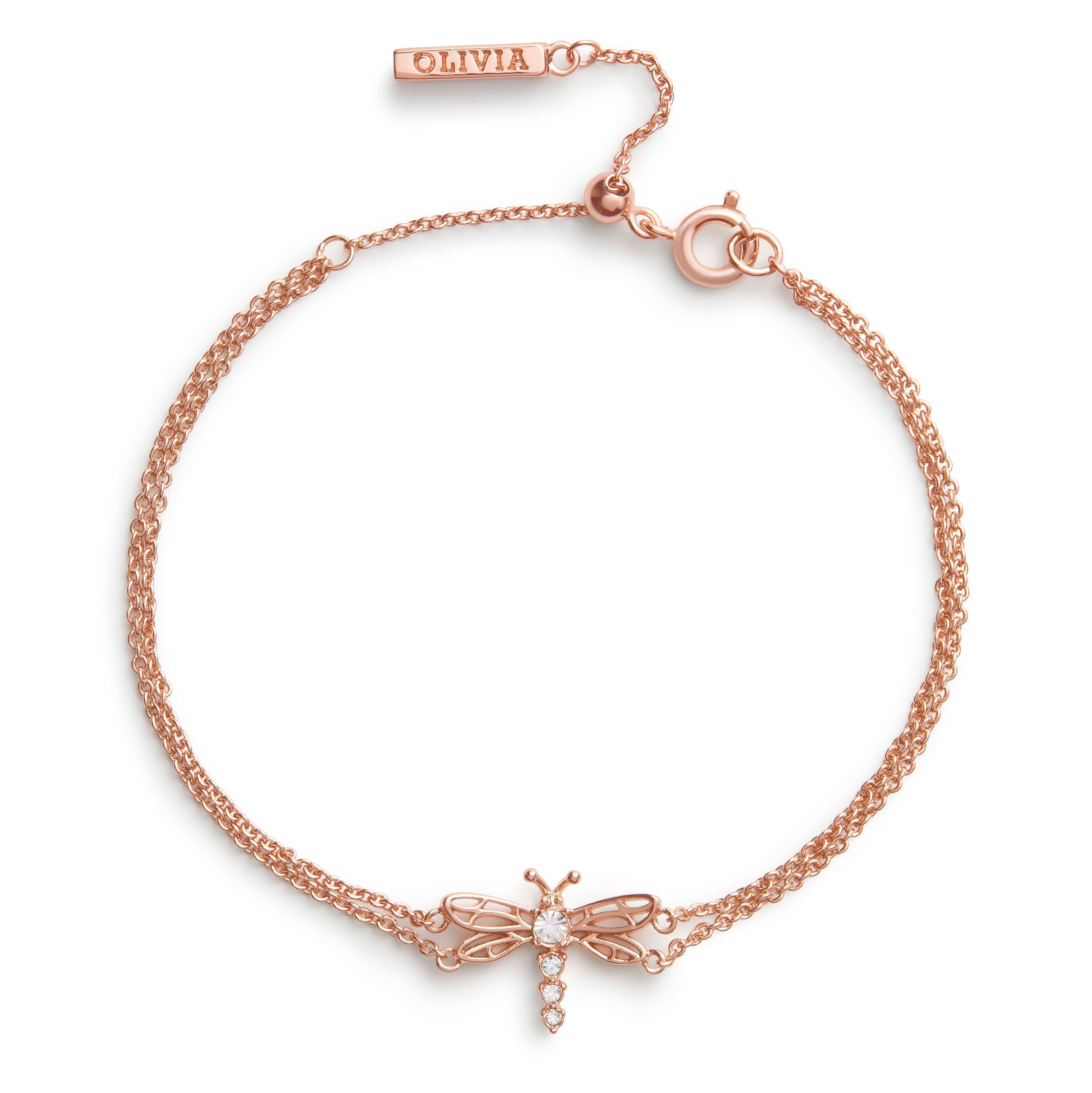 Olivia Burton Dancing Dragonfly Rose Gold Tone Bracelet