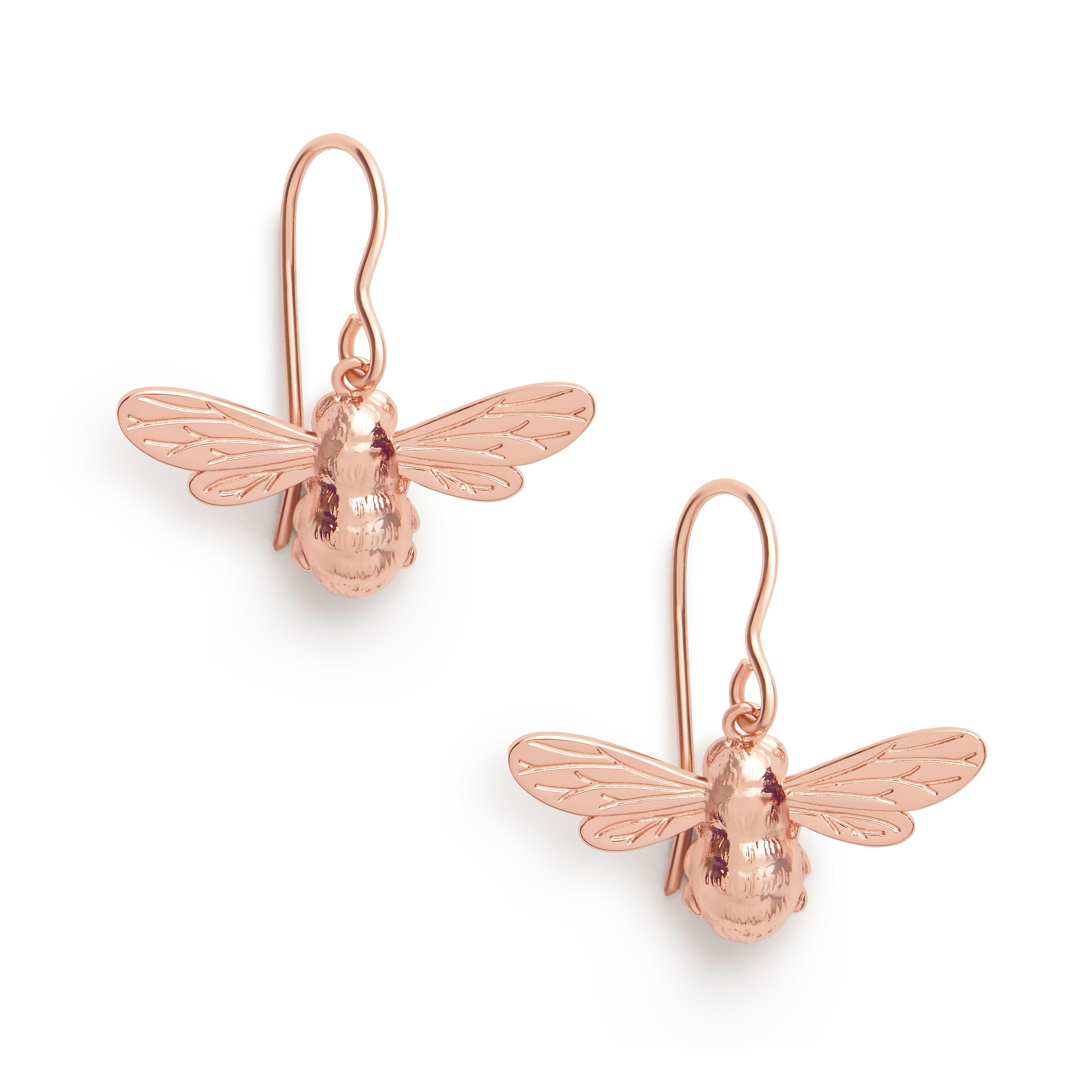 Olivia Burton Lucky Bee Rose Gold Plated Silver Earrings