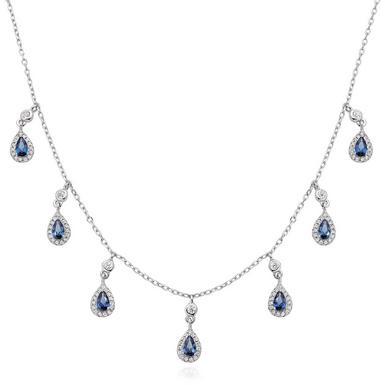 Silver Blue Cubic Zirconia Pearl Halo Necklace