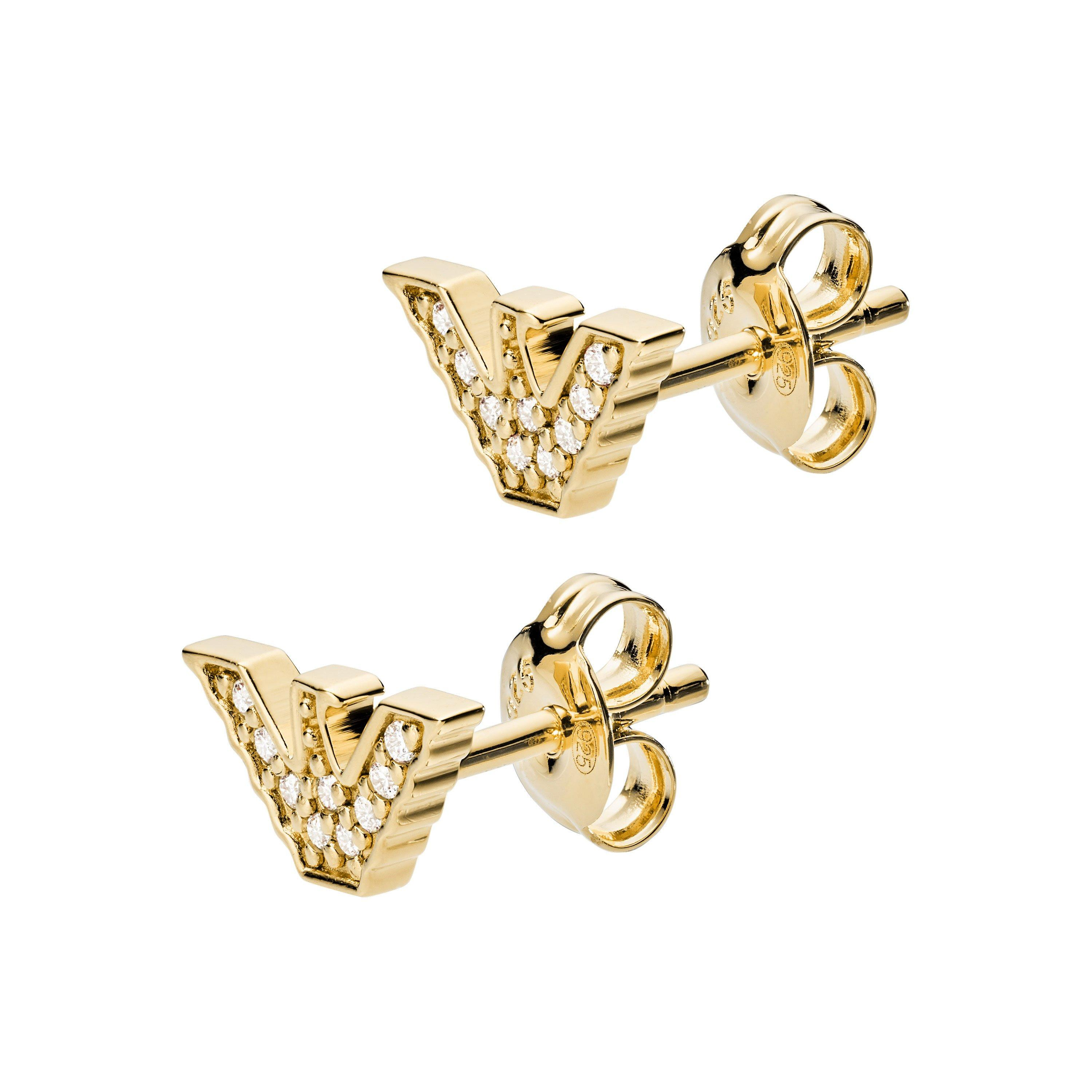 Emporio Armani Silver Gold Plated Stud Earrings