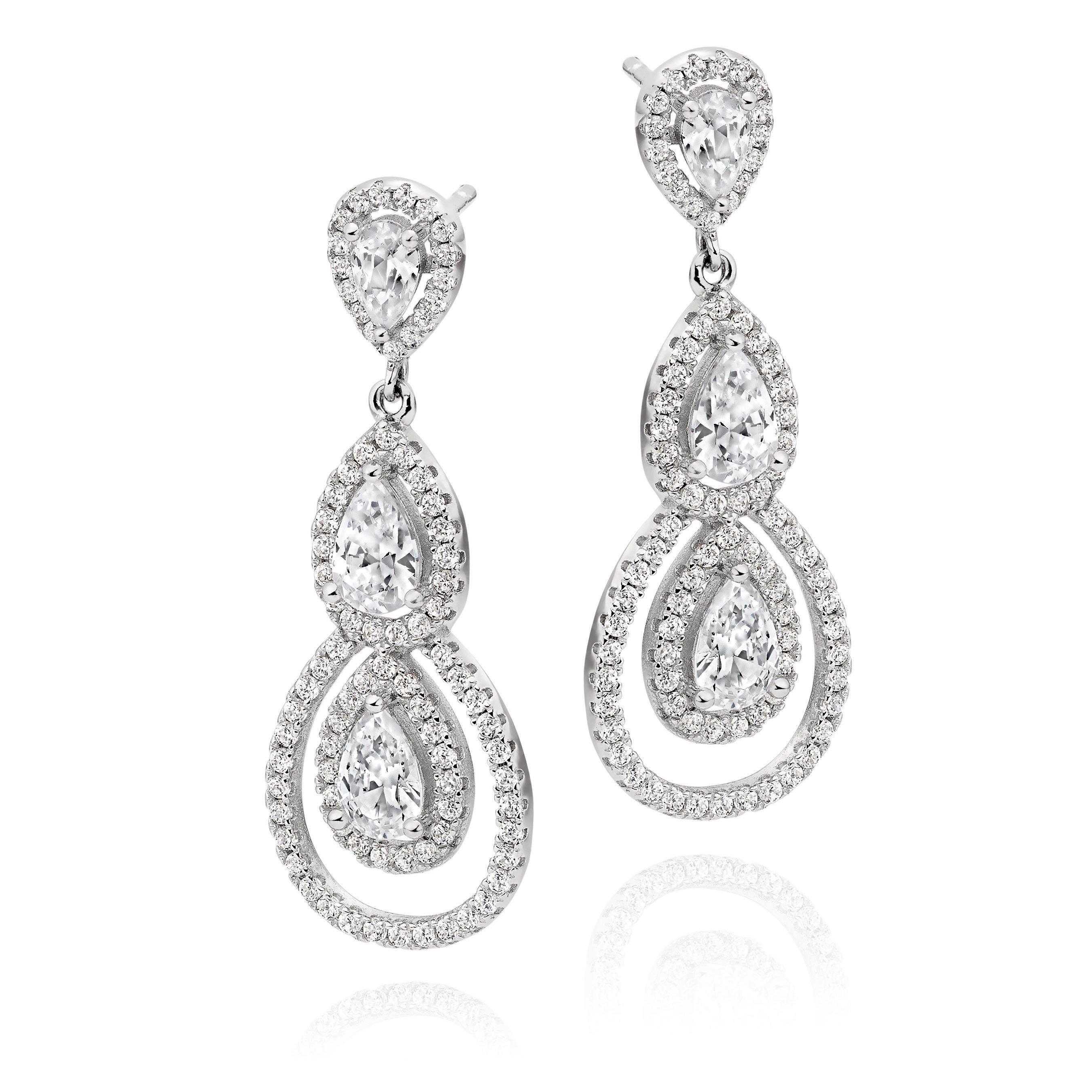 Silver Cubic Zirconia Pear Drop Earrings