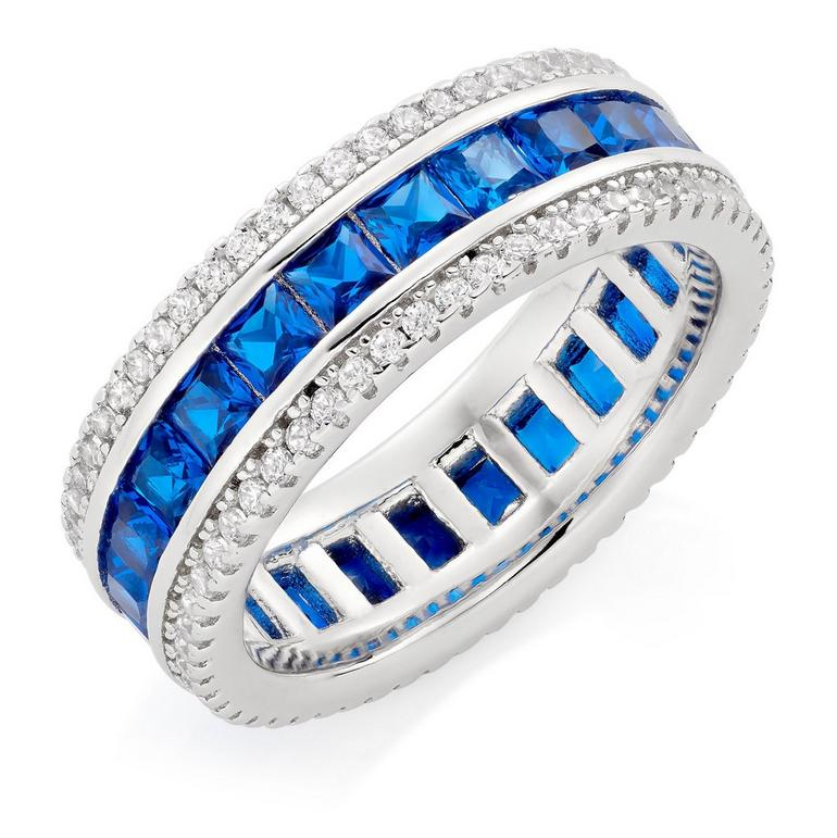 Silver Cubic Zirconia Blue Triple Row Ring