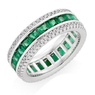 Silver Cubic Zirconia Green Triple Row Ring