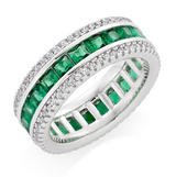Silver Cubic Zirconia Green Triple Row Ring