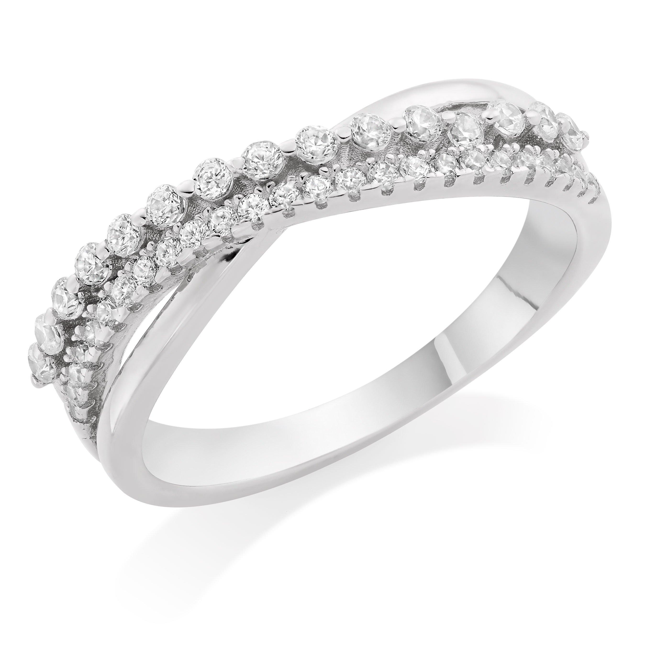 Silver Cubic Zirconia Crossover Ring