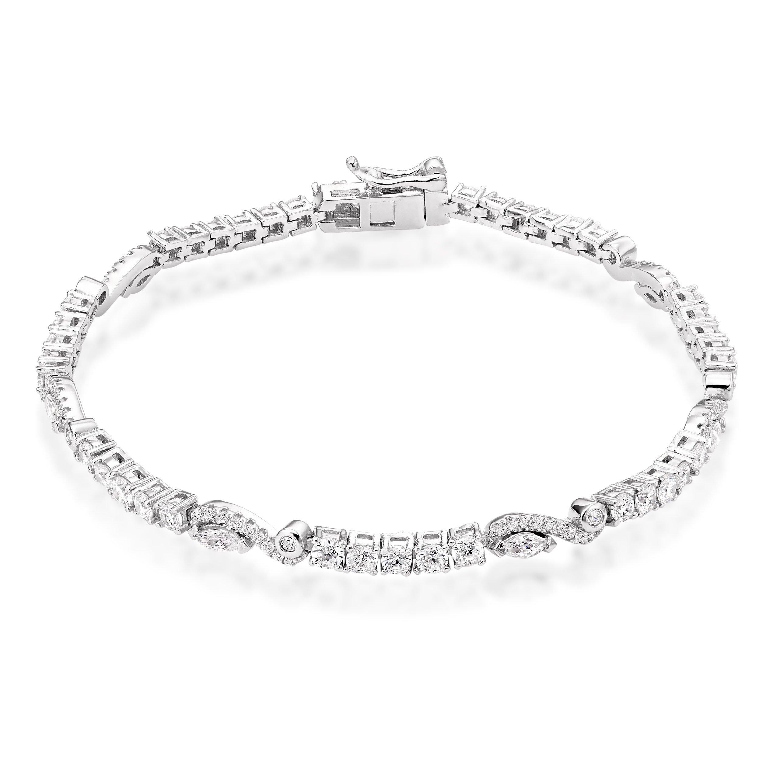 Silver Cubic Zirconia Fancy Tennis Bracelet