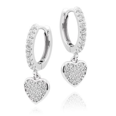 Silver Cubic Zirconia Heart Charm Hoop Earrings
