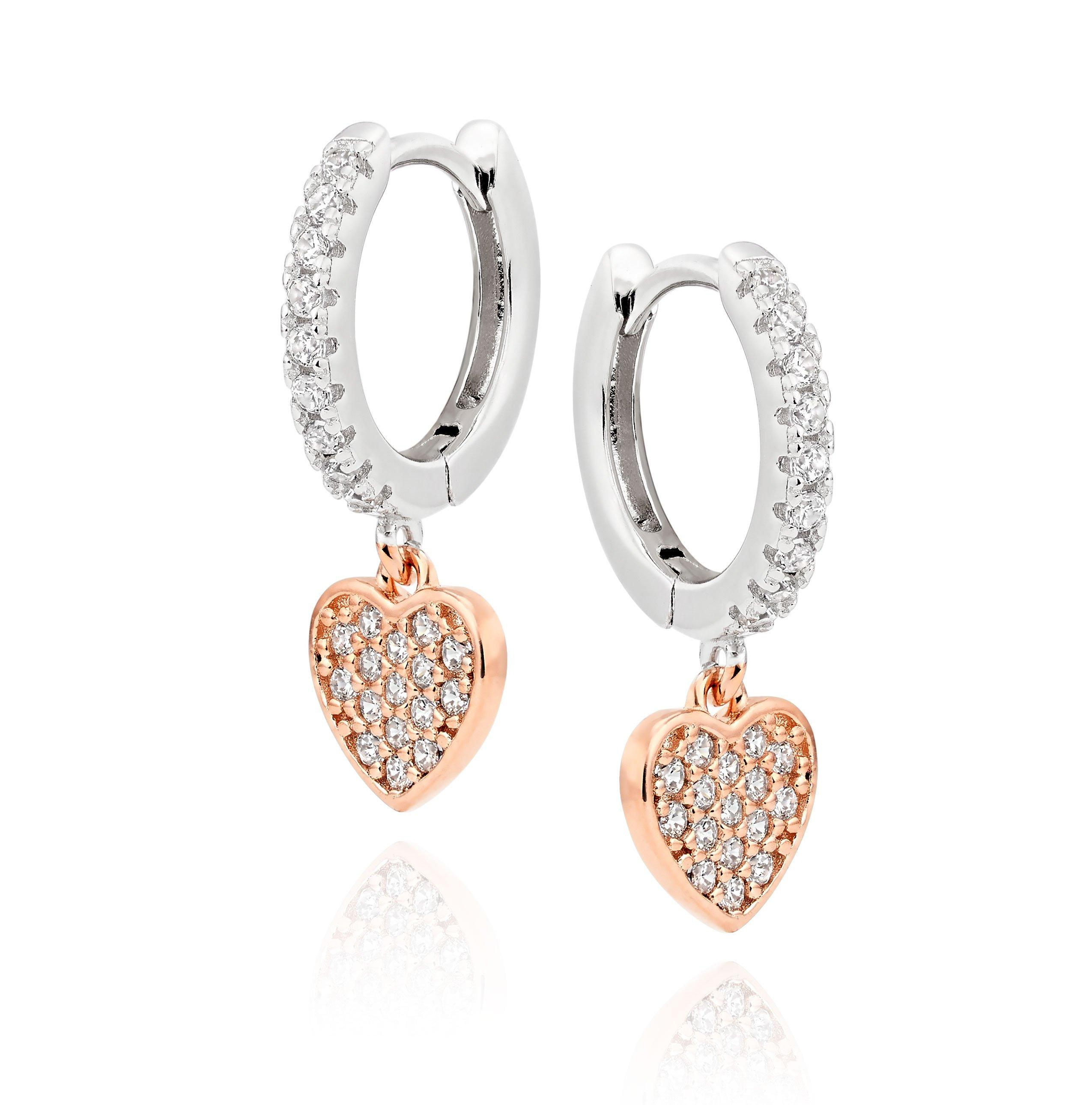 Silver Rose Gold Plated Cubic Zirconia Heart Hoop Earrings