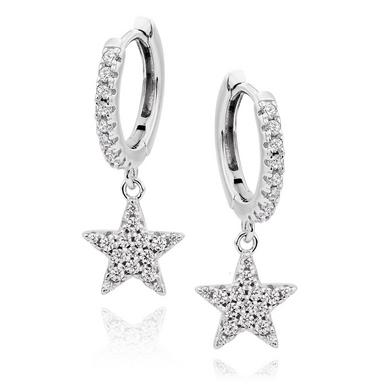 Silver Cubic Zirconia Star Charm Hoop Earrings