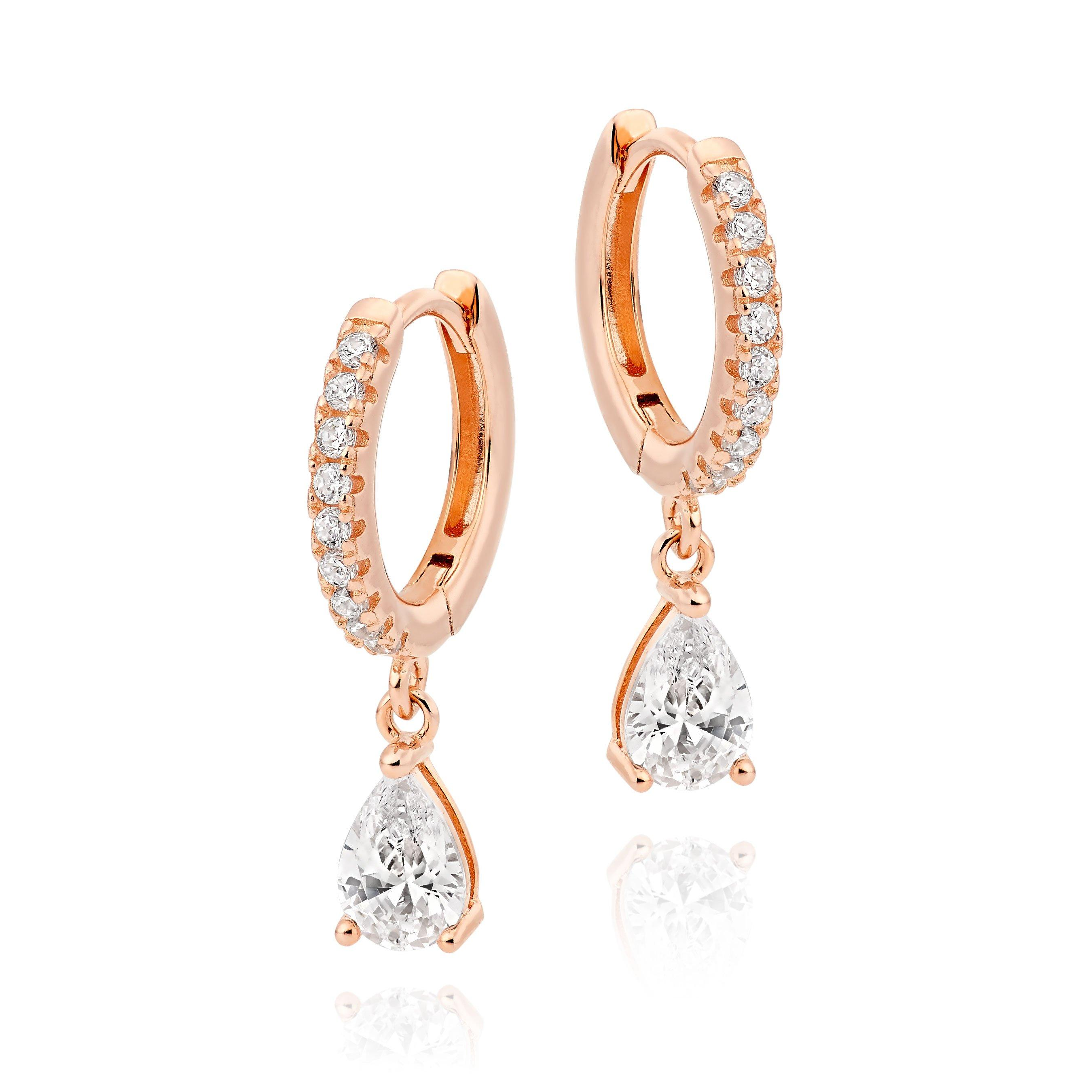 Silver Rose Gold Plated Pear Hoop Earrings