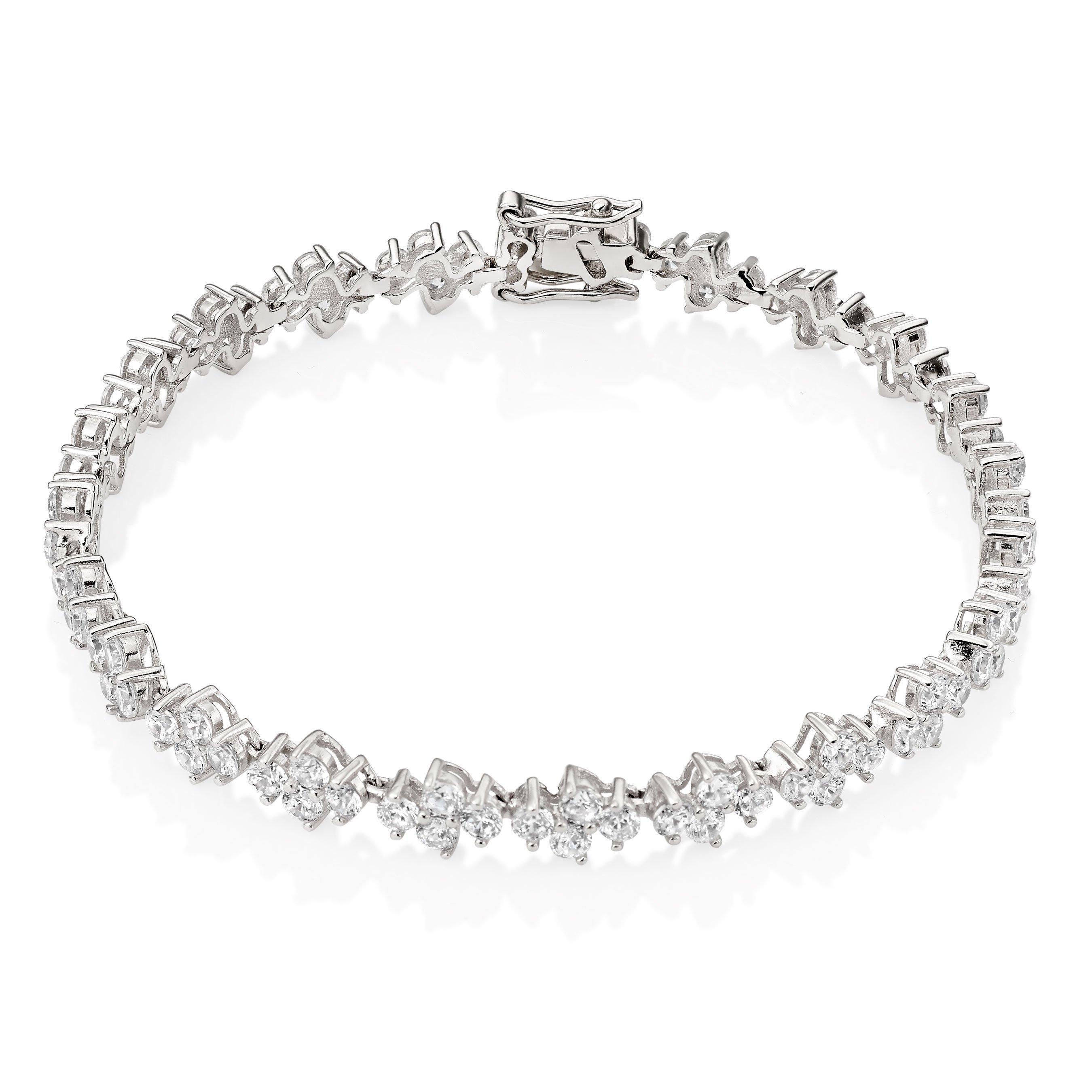 Silver Cubic Zirconia Cluster Tennis Bracelet