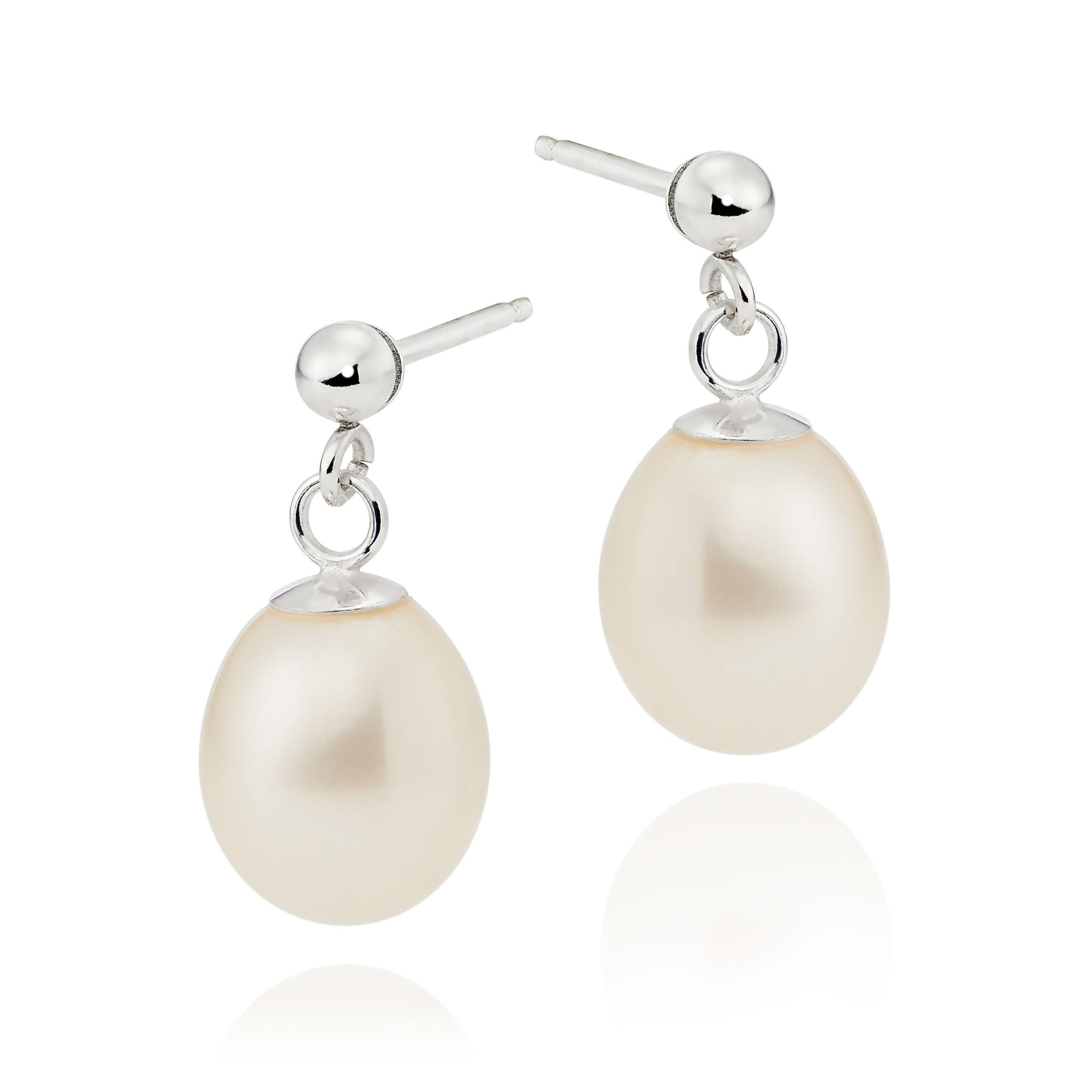 Silver Freshwater Cultured Pearl Drop Earrings