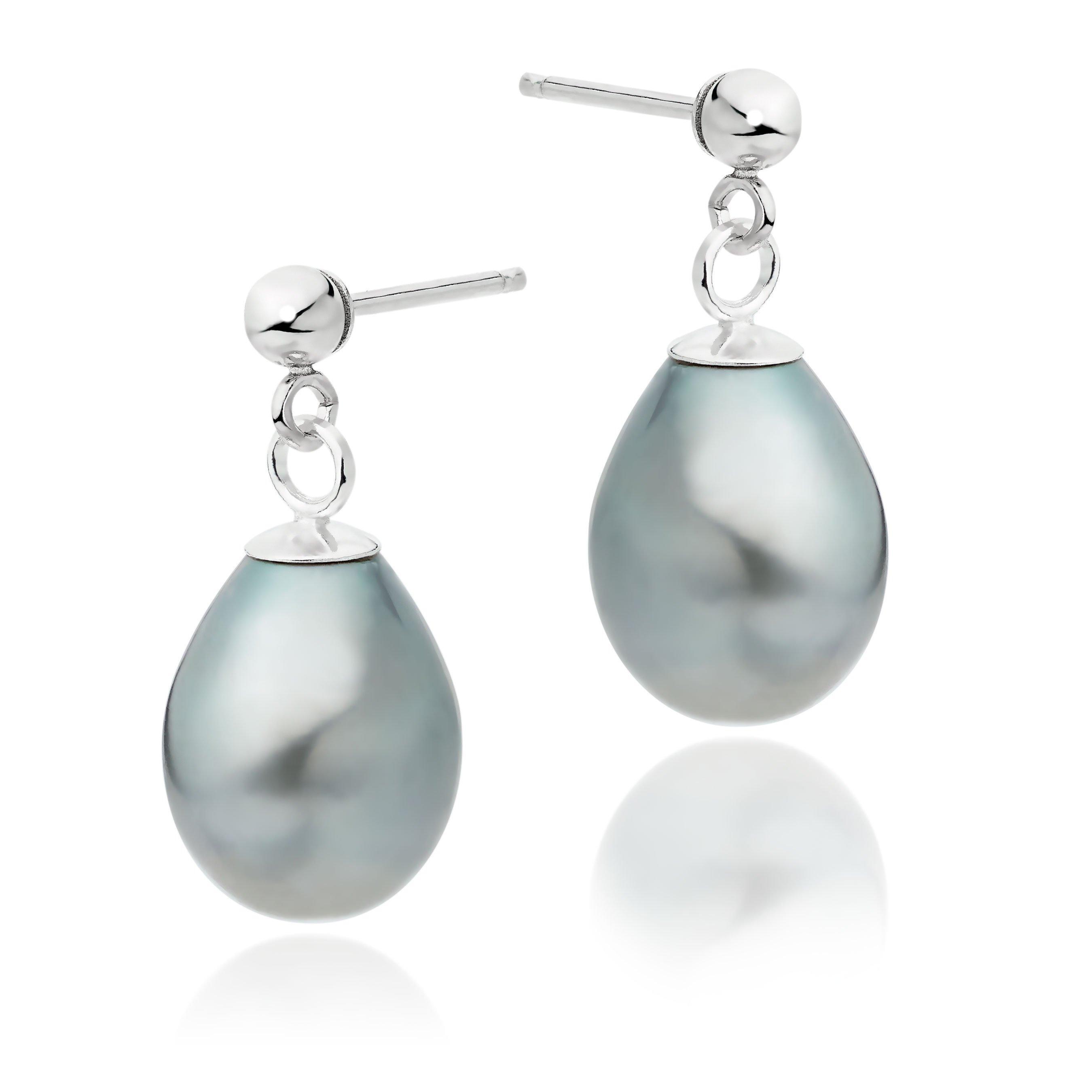 Silver Freshwater Cultured Grey Pearl Drop Earrings