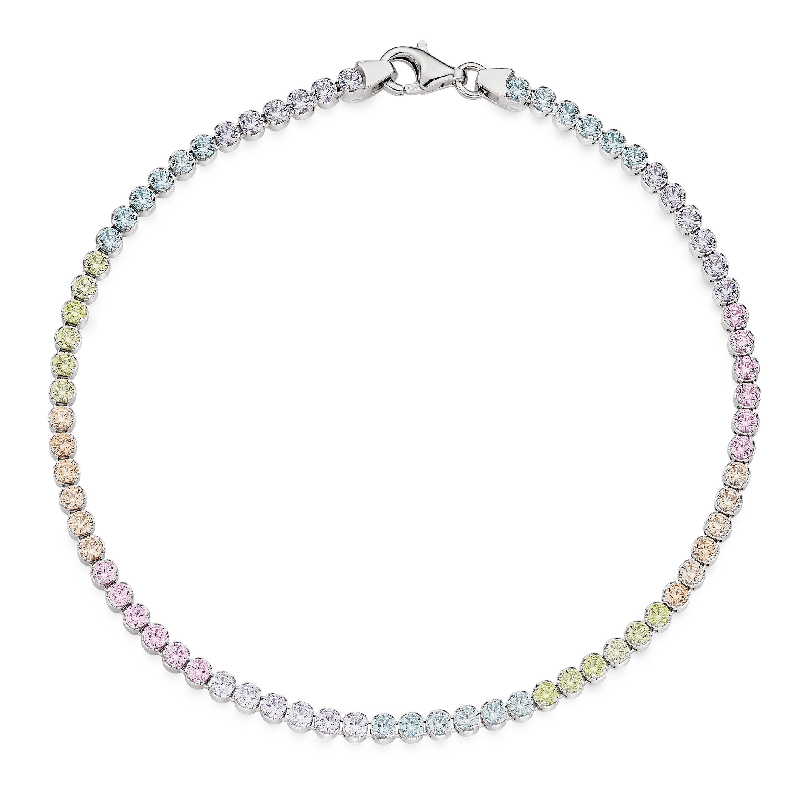 Silver Cubic Zirconia Rainbow Bracelet