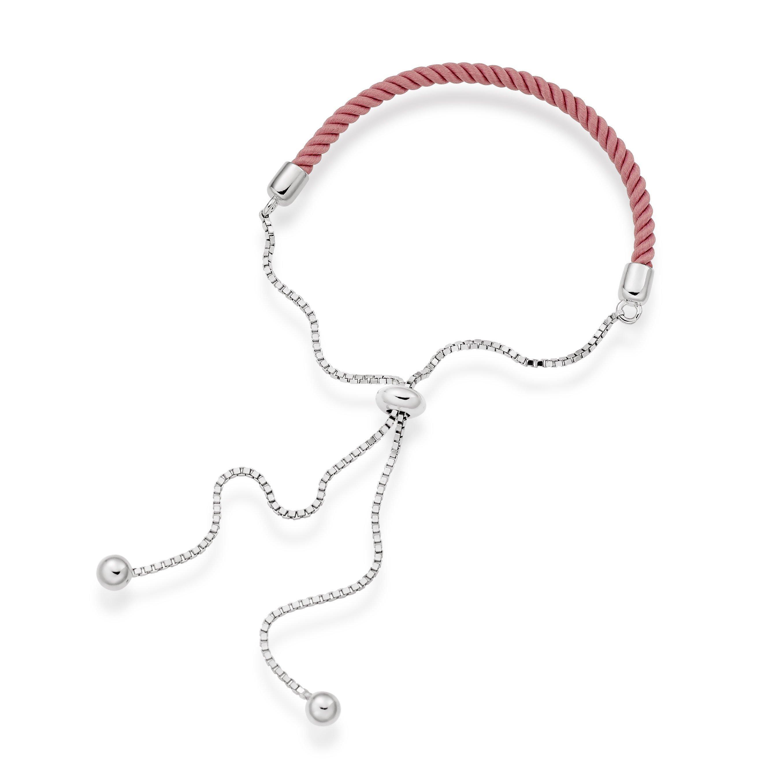 Silver Pink Rope Friendship Bracelet