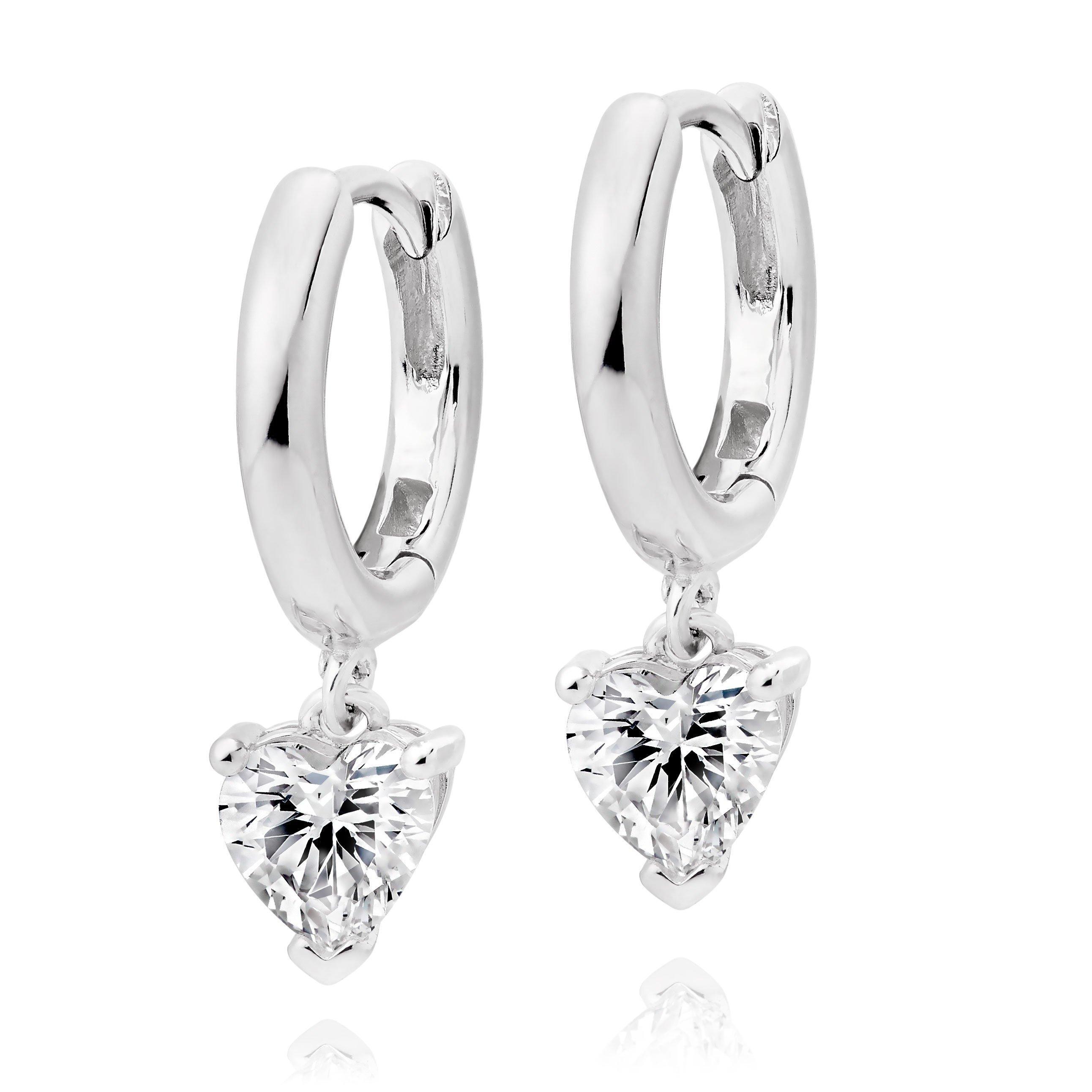 Silver Cubic Zirconia Heart Charm Hoop Earrings
