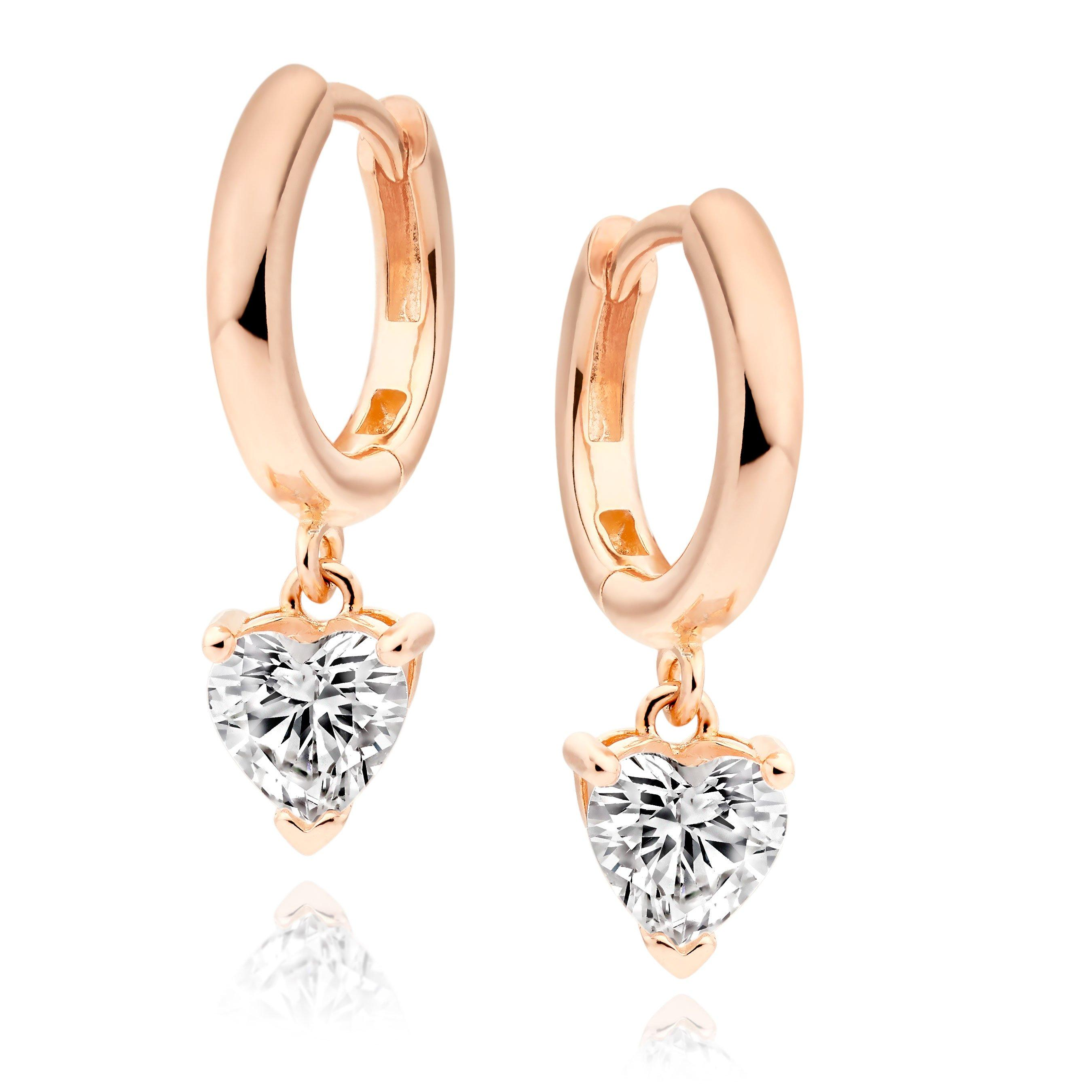 Silver Rose Gold Plated Cubic Zirconia Heart Charm Hoop Earrings