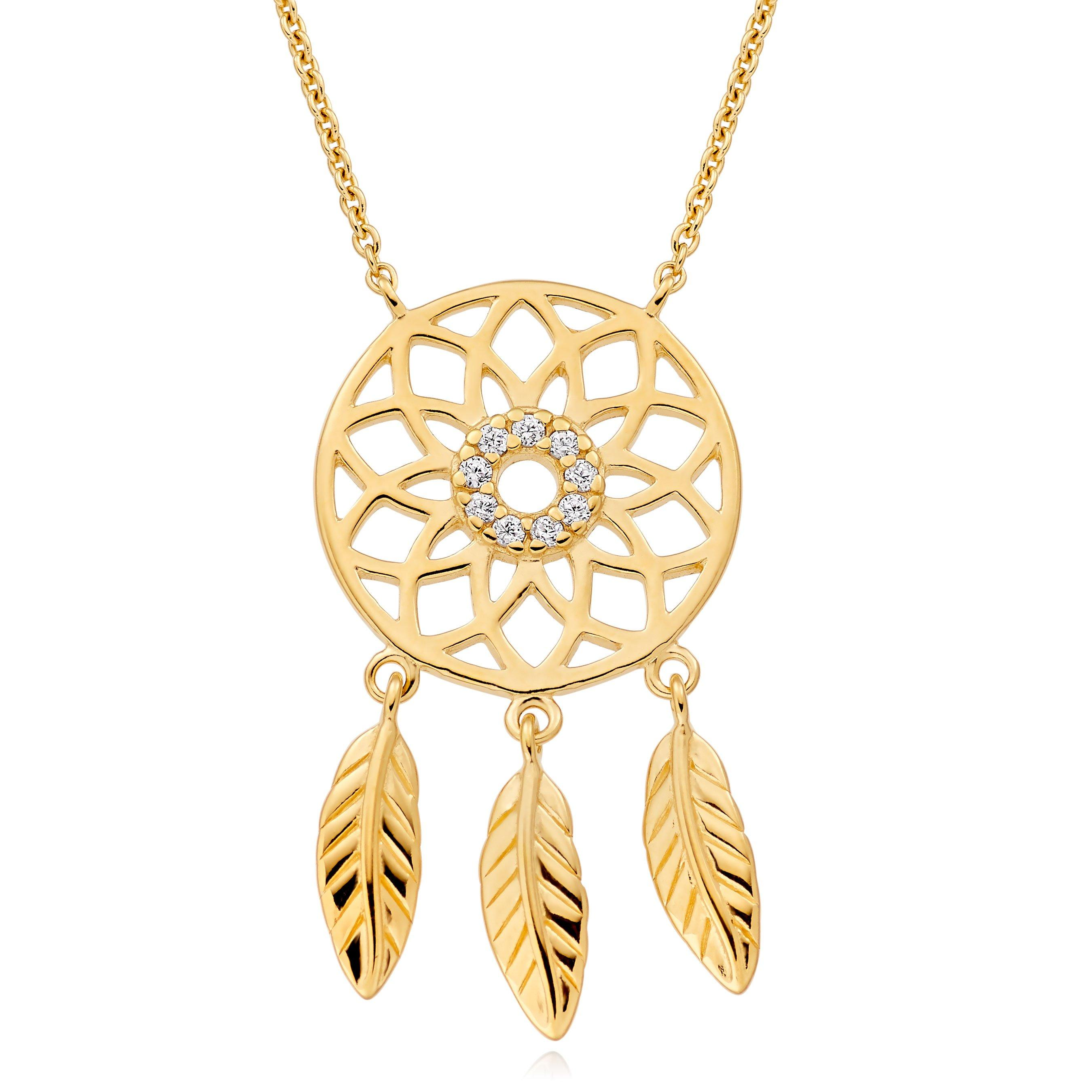 Silver 18ct Gold Plated Cubic Zirconia Dream Catcher Necklace