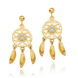 Silver 18ct Gold Plated Cubic Zirconia Dream Catcher Earrings