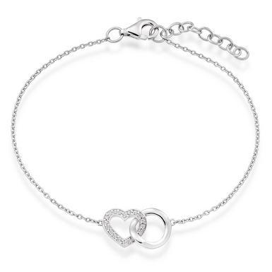 Silver Cubic Zirconia Interlocking Bracelet