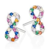 Silver Cubic Zirconia Multicoloured Infinity Earrings
