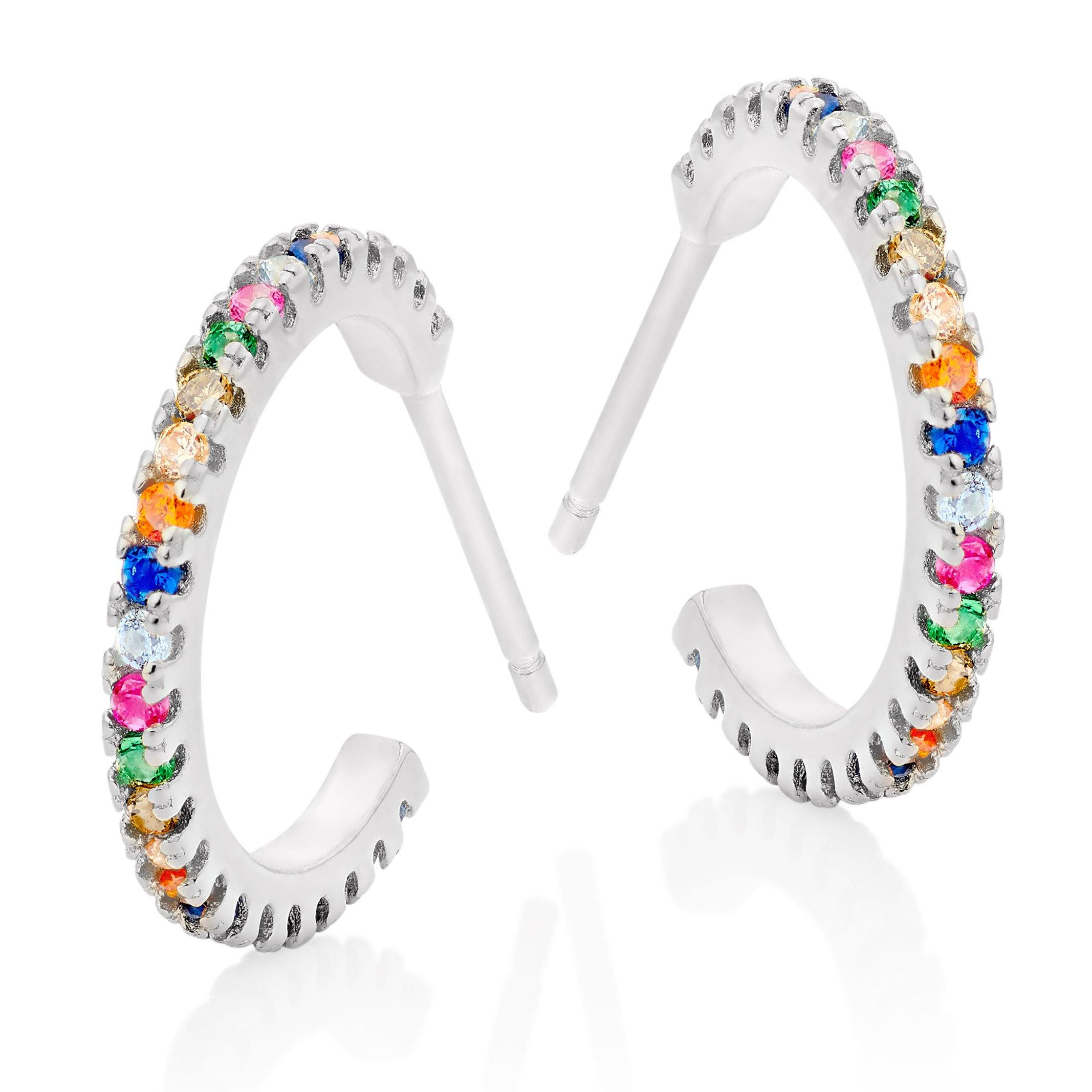 Silver Cubic Zirconia Multicoloured Hoop Earrings