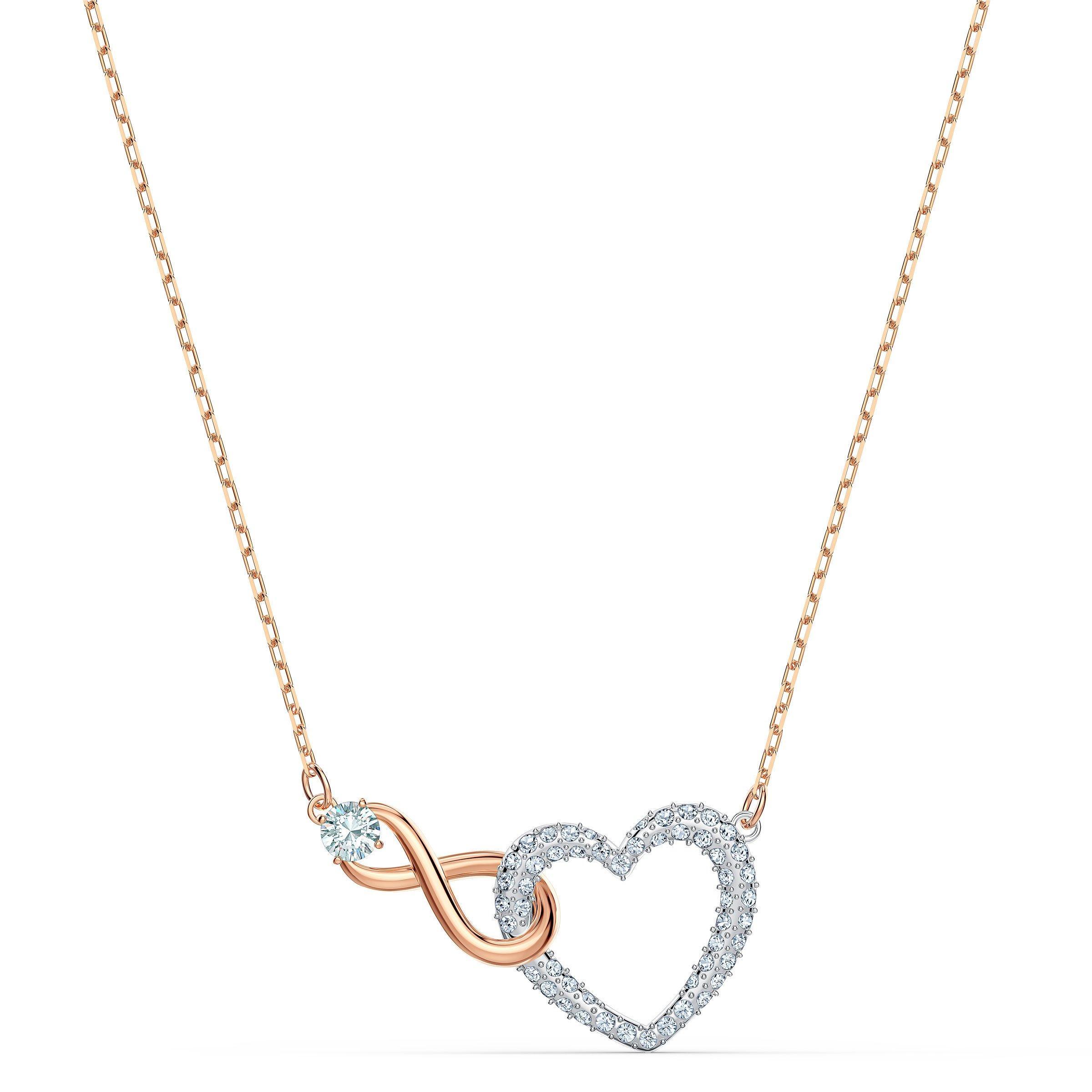 Swarovski Infinity Heart Rose Gold Tone Necklace