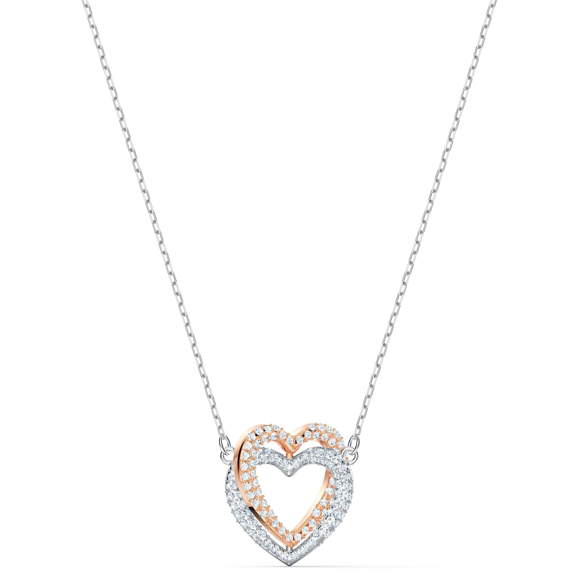 Swarovski Double Heart Silver and Rose Gold Tone Necklace