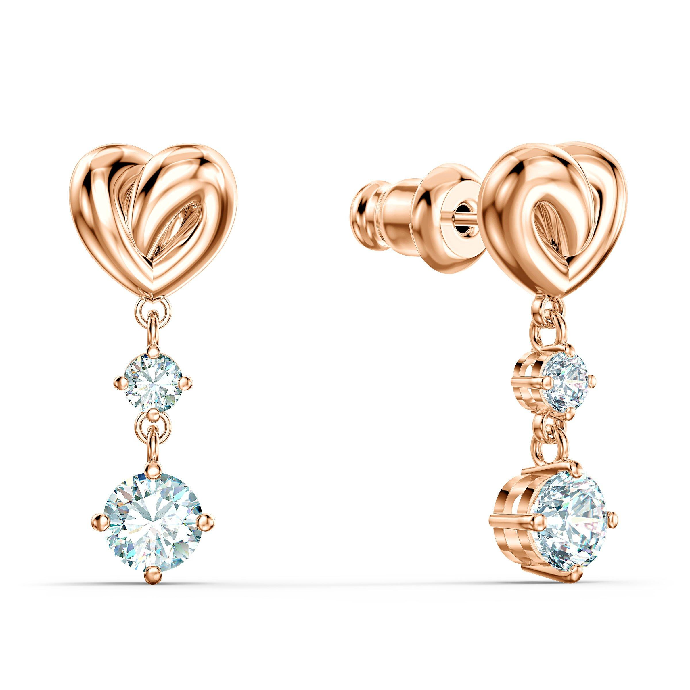 Swarovski Lifelong Heart Rose Gold Tone Drop Earrings