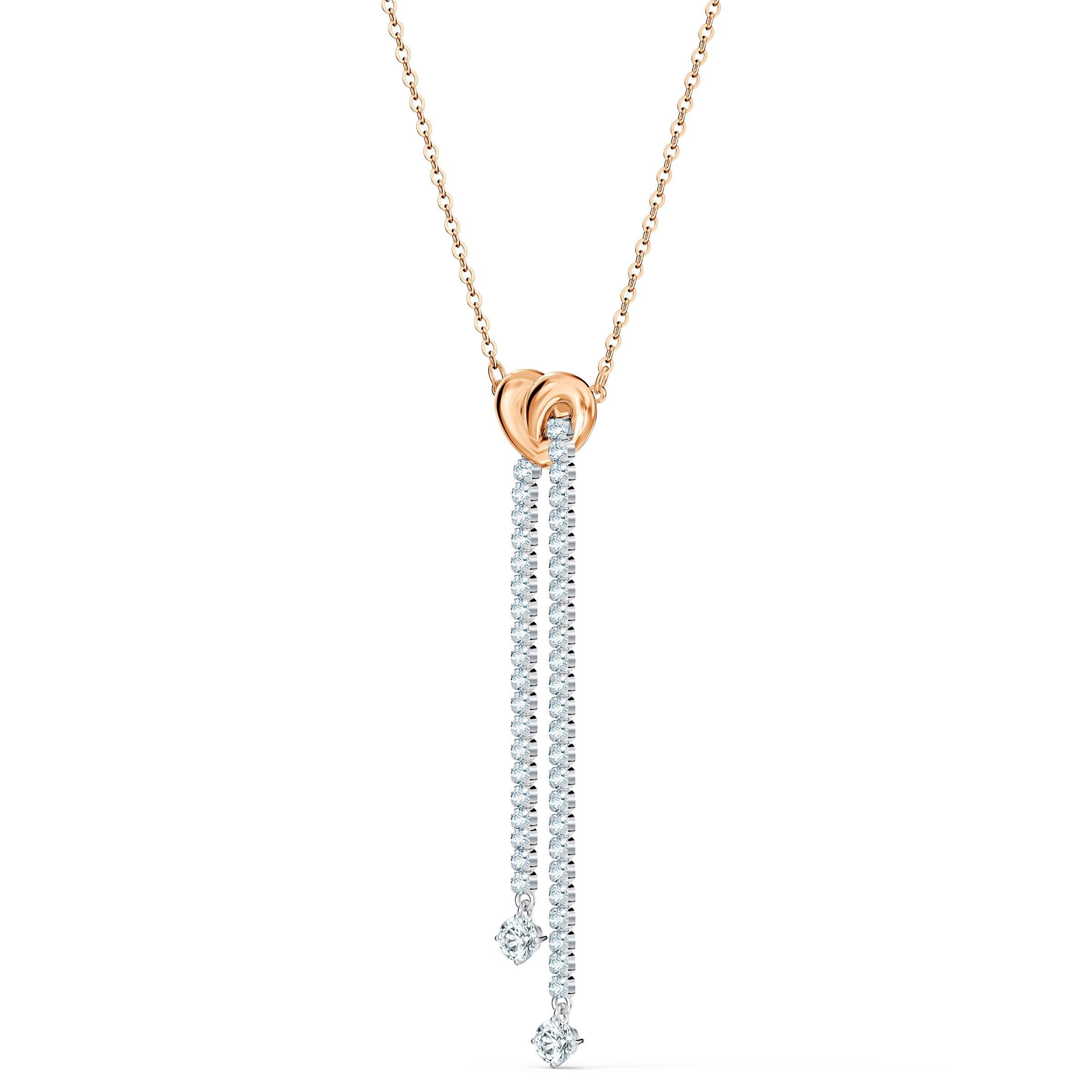 Swarovski Lifelong Heart Rose Gold Tone Drop Necklace