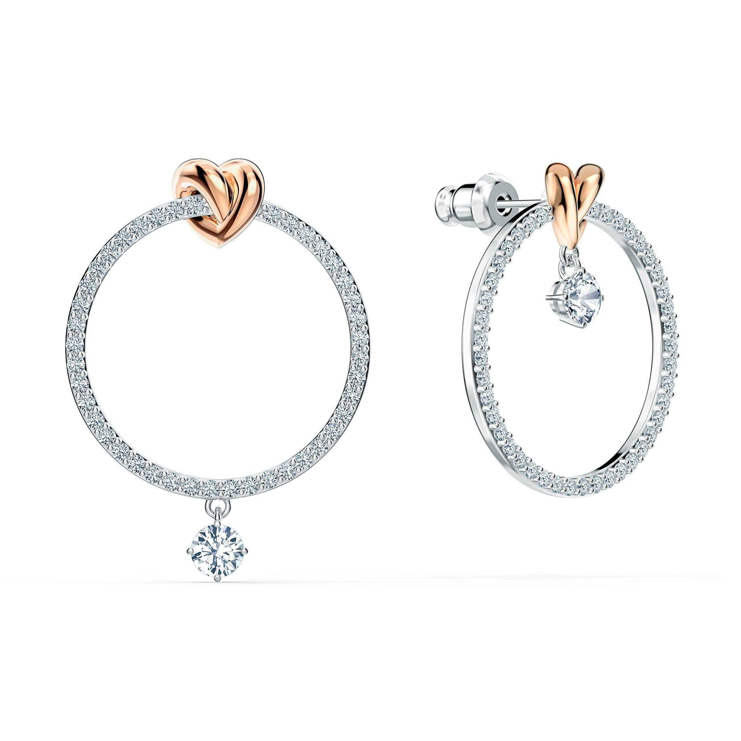 Swarovski Lifelong Heart Silver and Rose Gold Tone Hoop Earrings