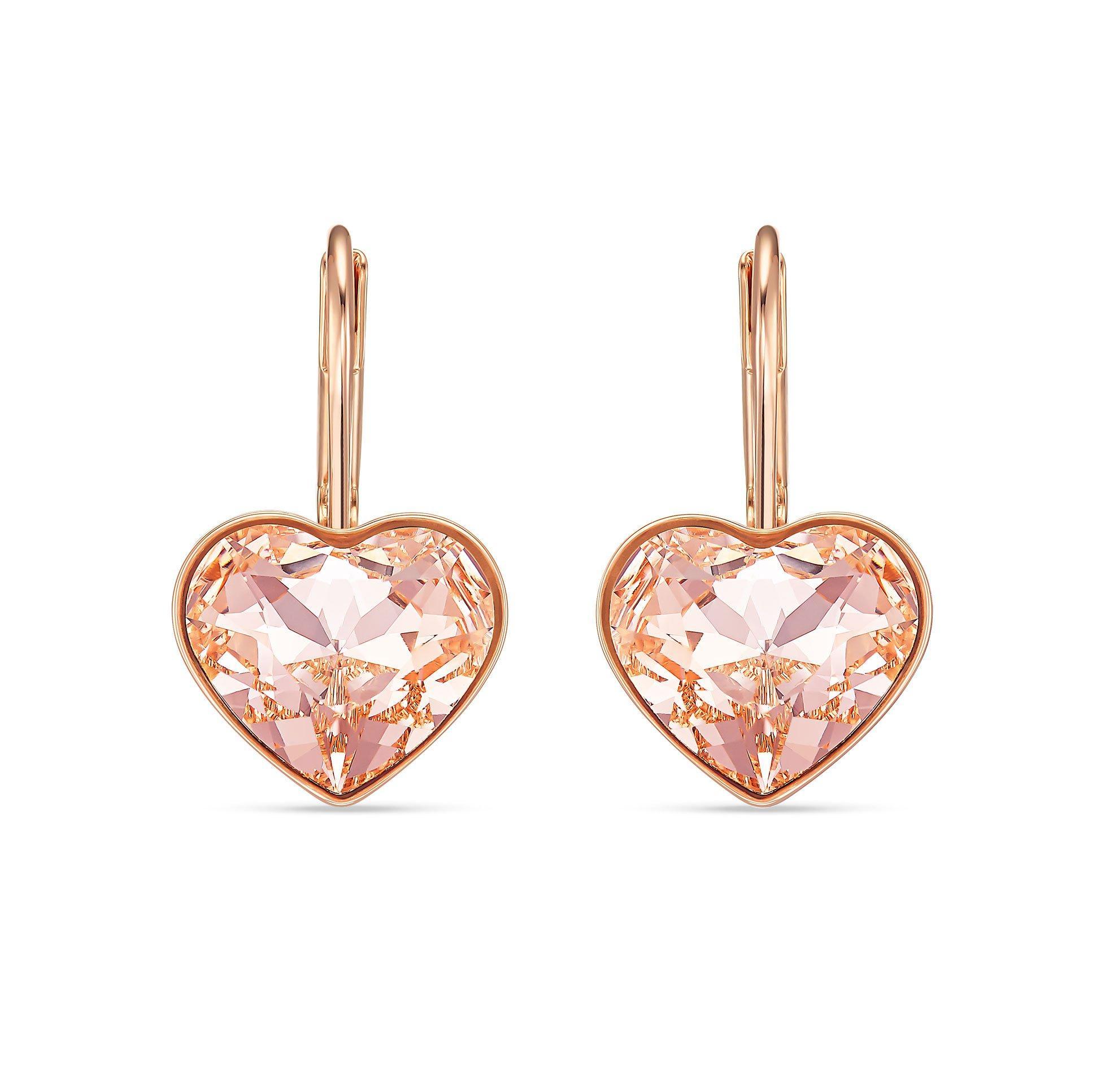 Swarovski Bella Rose Gold Tone Heart Earrings