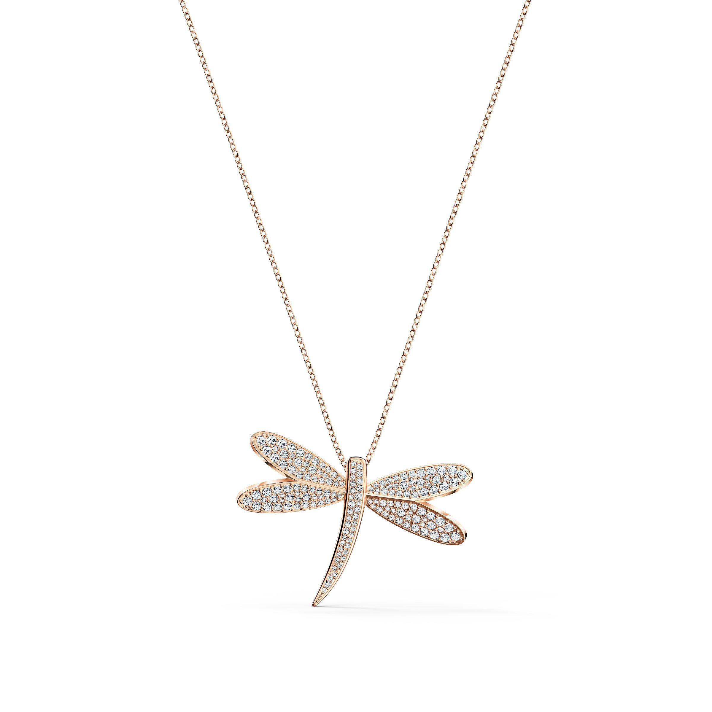 Swarovski Dragonfly Rose Gold Tone Pendant