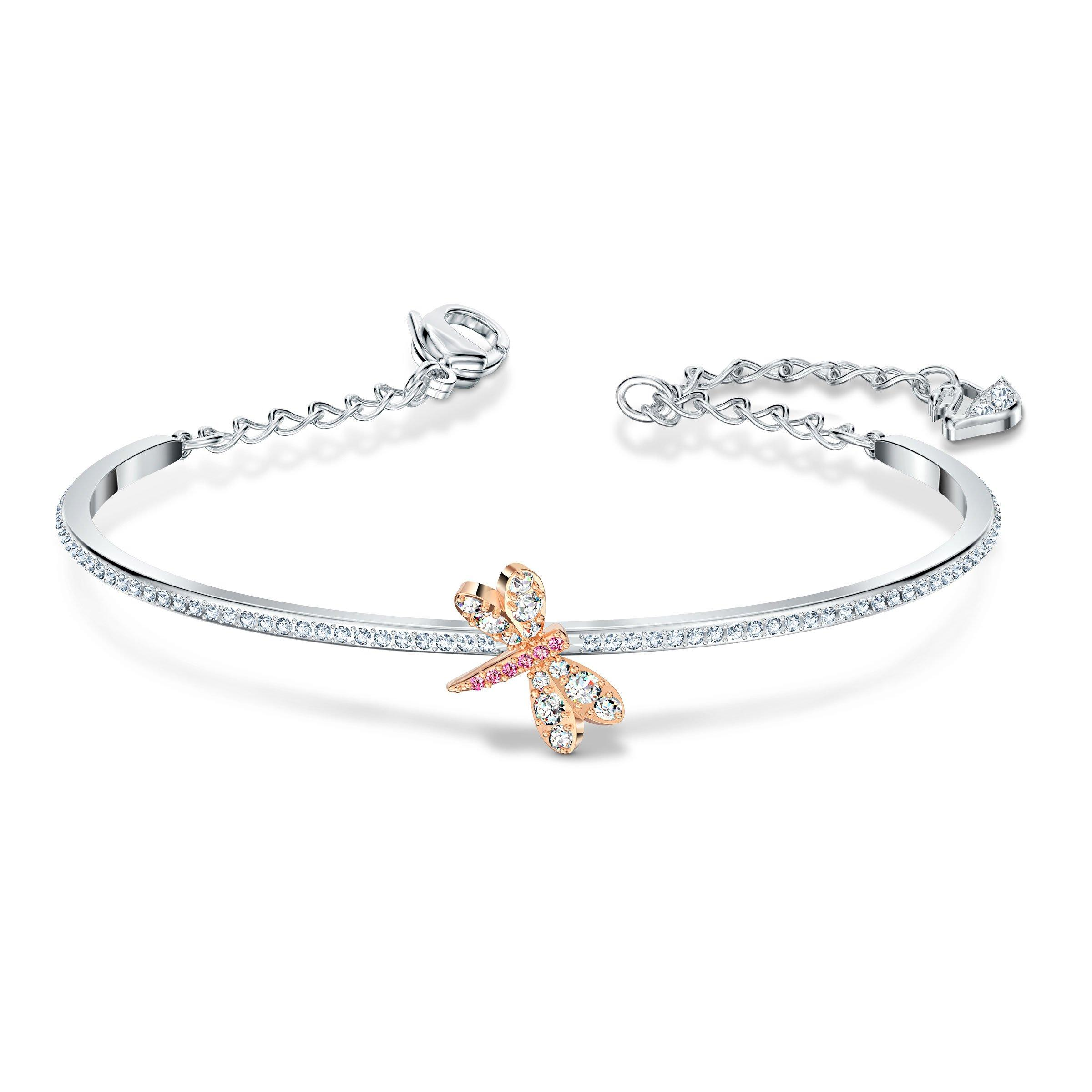 Swarovski Dragonfly Silver and Rose Gold Tone Bangle