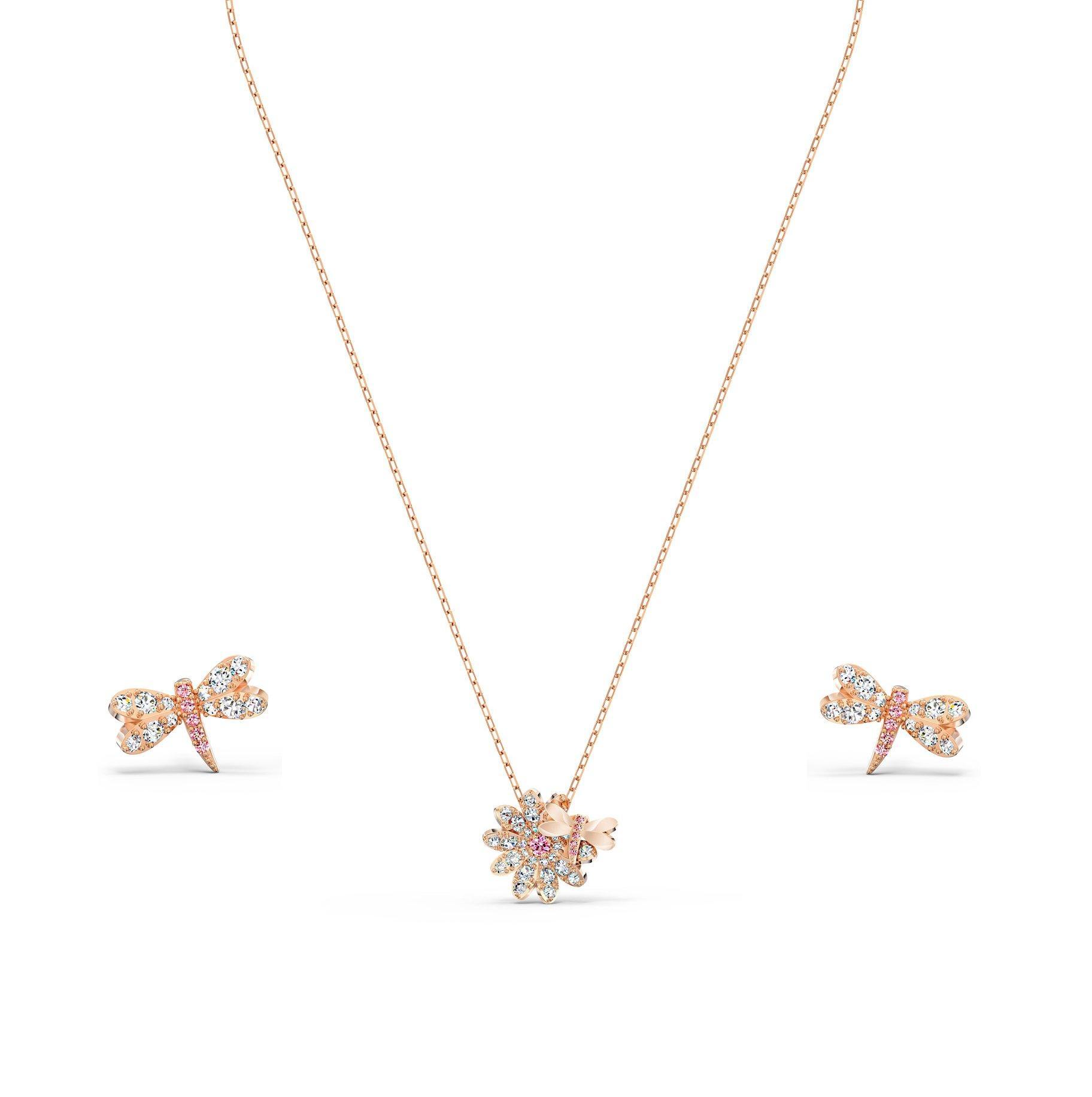 Swarovski Eternal Flower Dragonfly Rose Gold Tone Pendant and Earrings Set