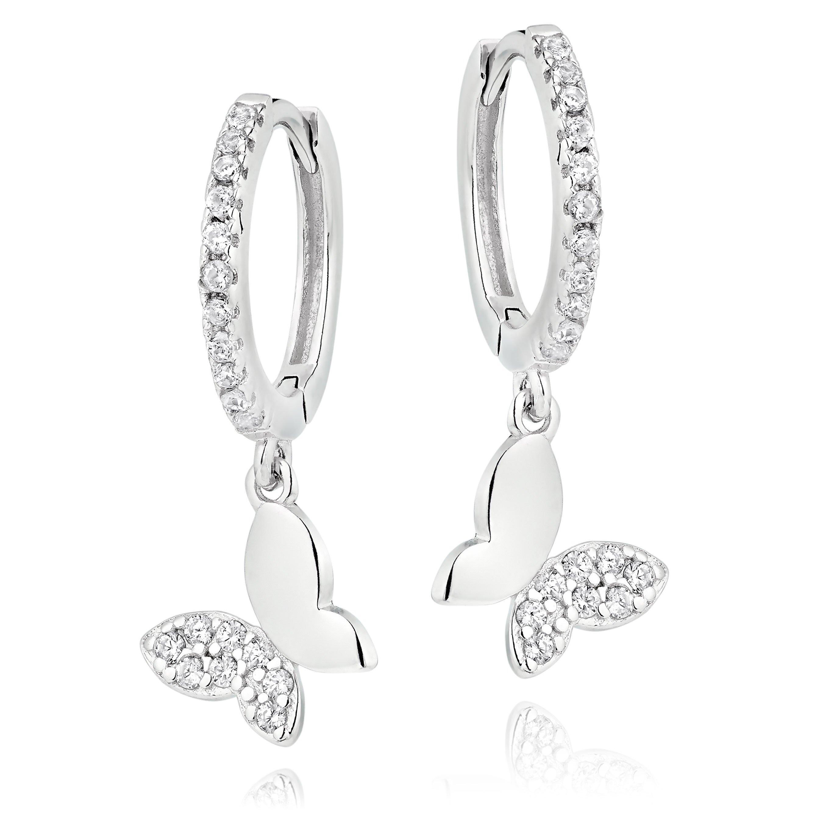 Silver Cubic Zirconia Butterfly Charm Hoop Earrings