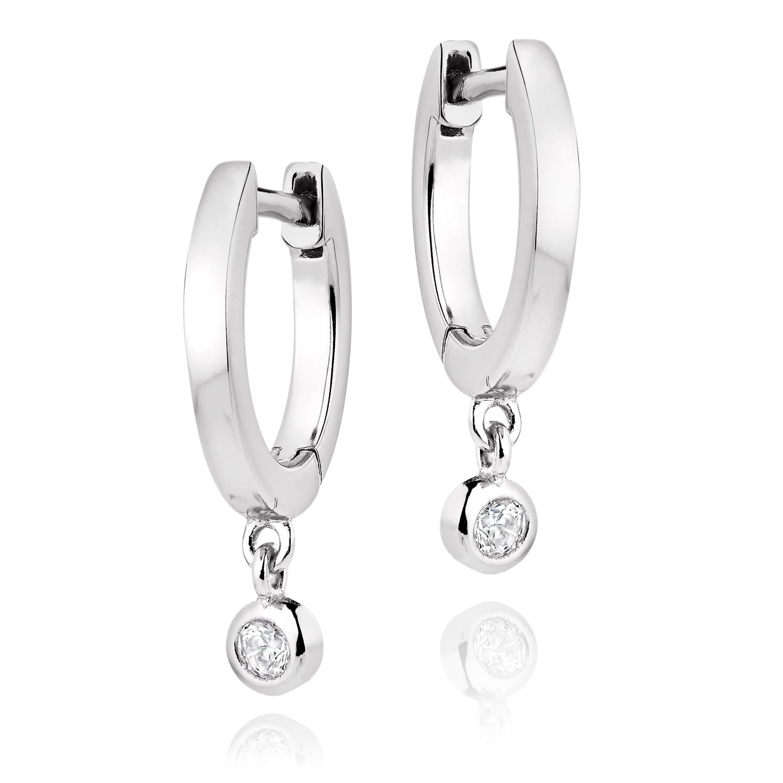 Silver Cubic Zirconia Drop Hoop Earrings